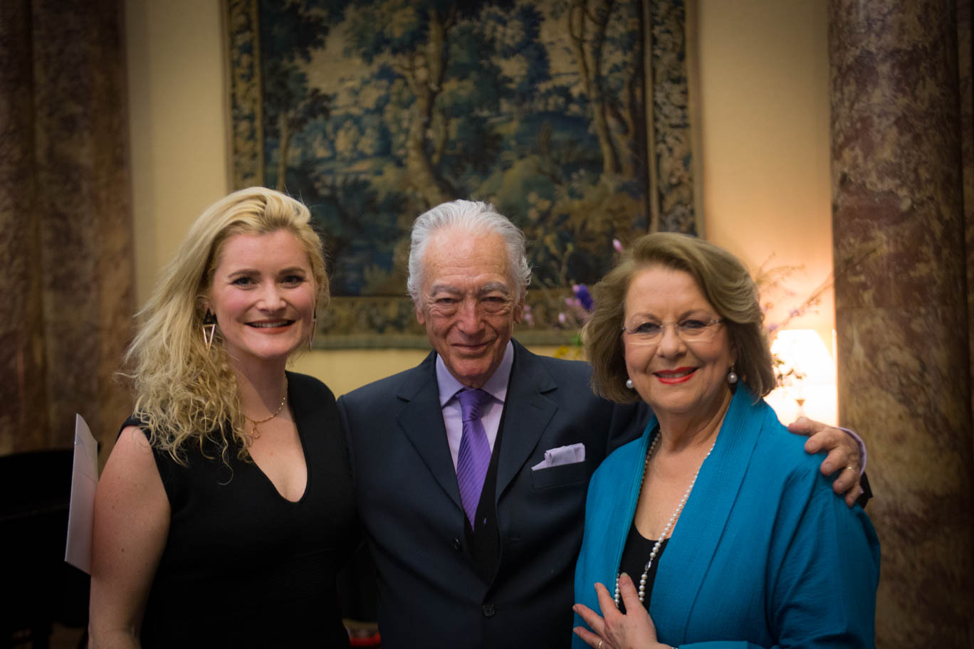 Samantha with two of her Australian operatic heroes, conductor Richard Bonynge and my teacher, soprano Yvonne Kenny AM at Australia House.