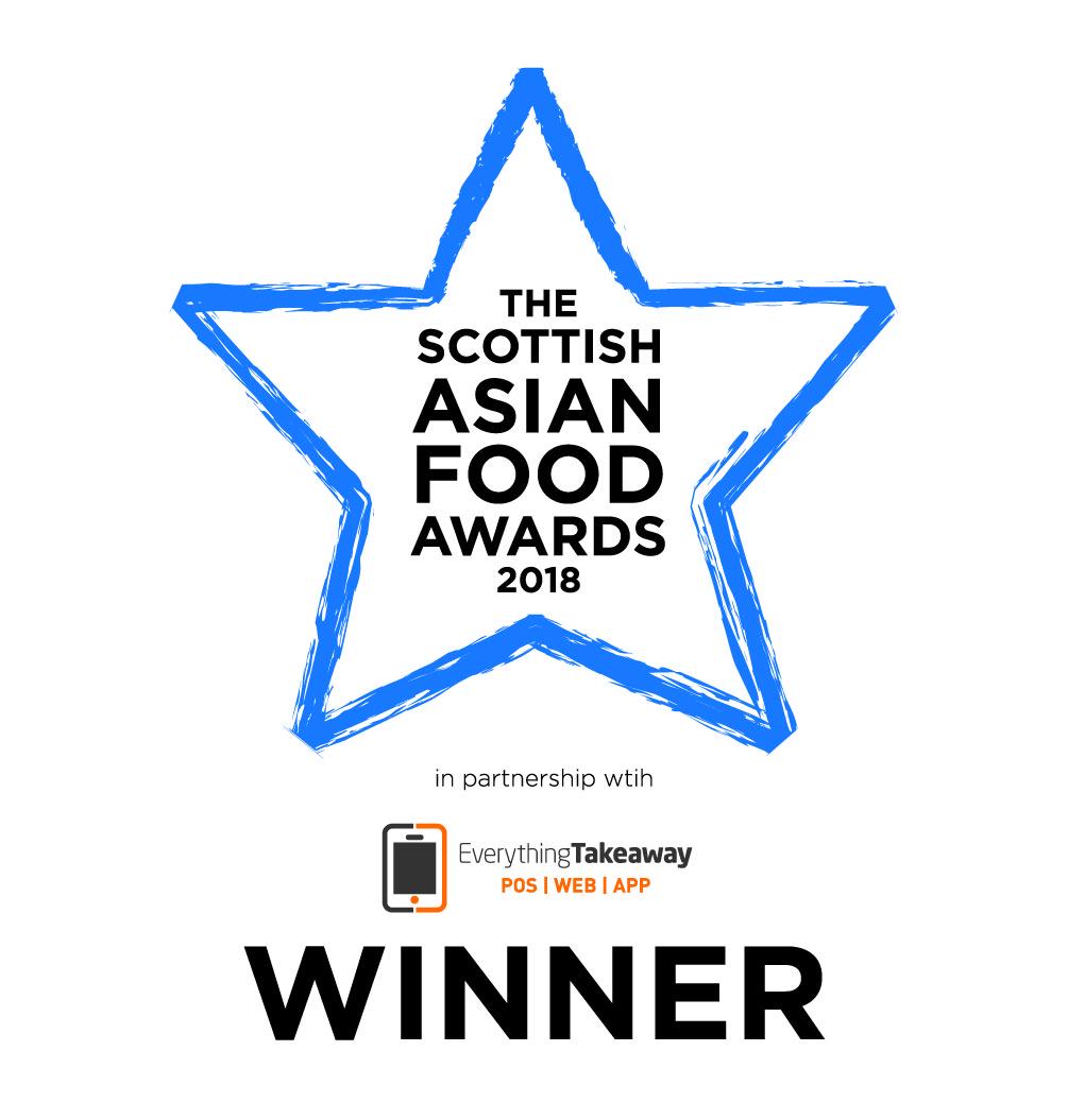 The Scottish Asian Food Awards 2018 Winner -
