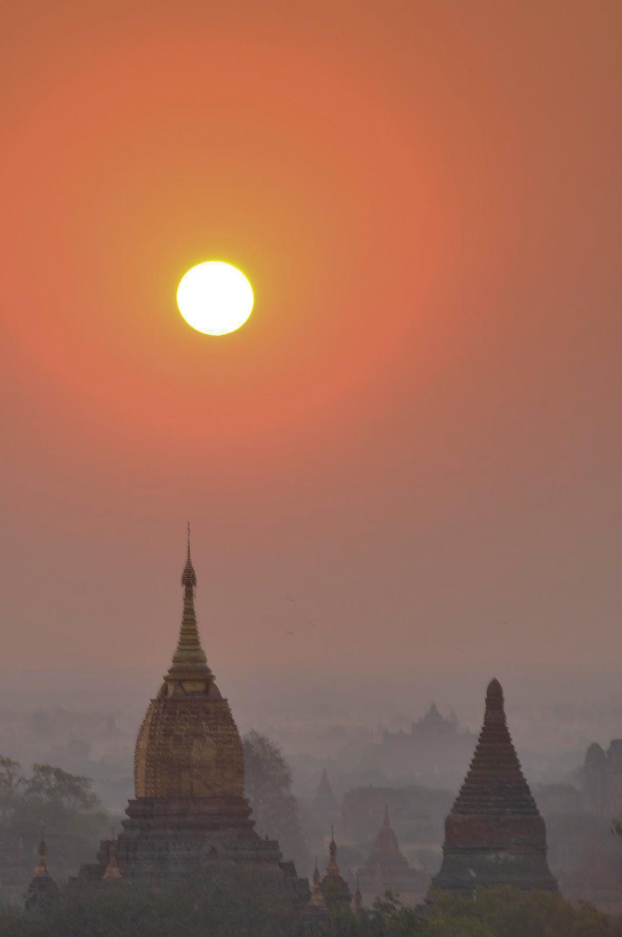 Sunrise over Old Bagan, Myanmar
