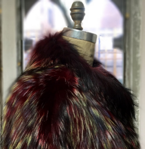 Rainbow rinsed silver fox coat. © Jonevon Furs, New York City. 212-714-0645