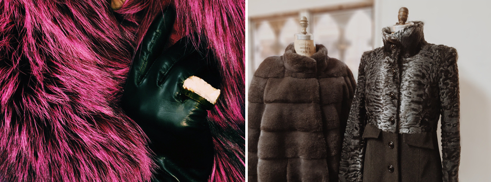 Gunmetal Swakara lamb and cashmere coat.  Mink jacket. © Jonevon Furs, New York City. 212-714-0645