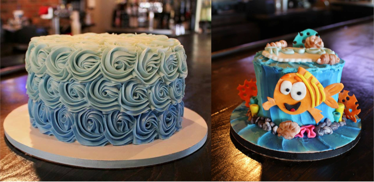 Custom Cakes  Call us today to design a custom cake for your next event!   Click here to get started