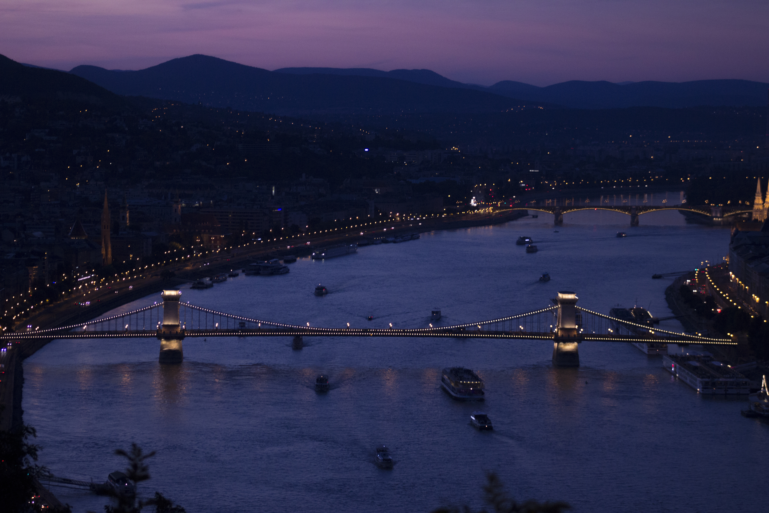 This is a view of the famous Szechenyi Bridge (or Chain Bridge) from the south looking north.