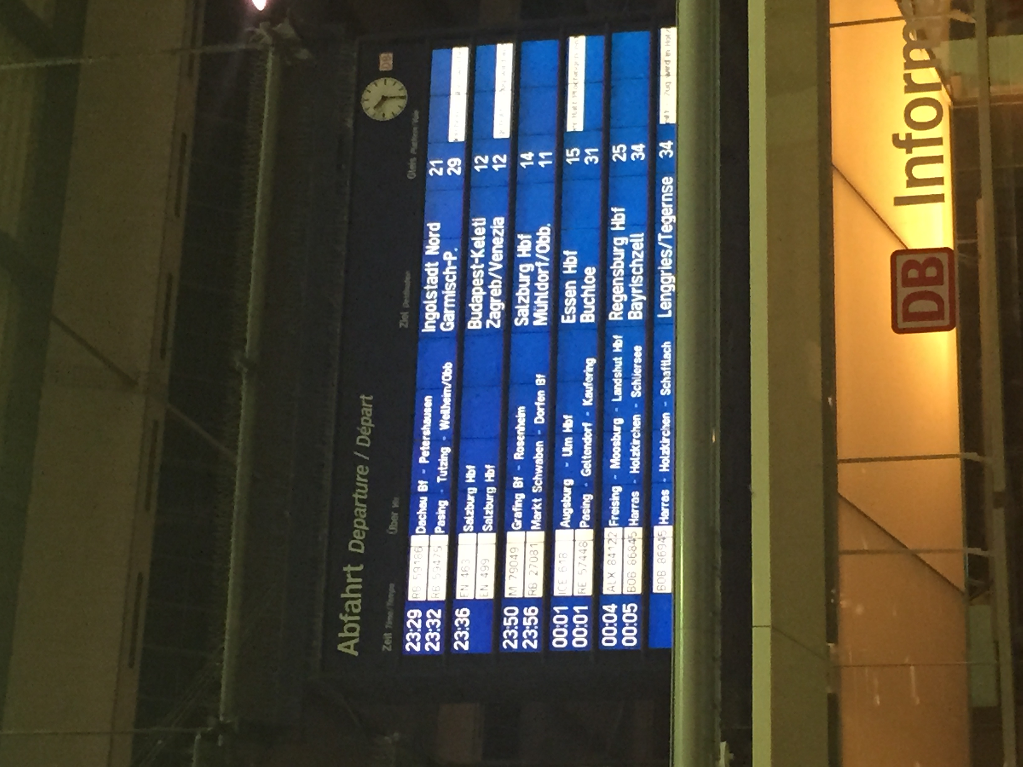 Departures board at Munich.
