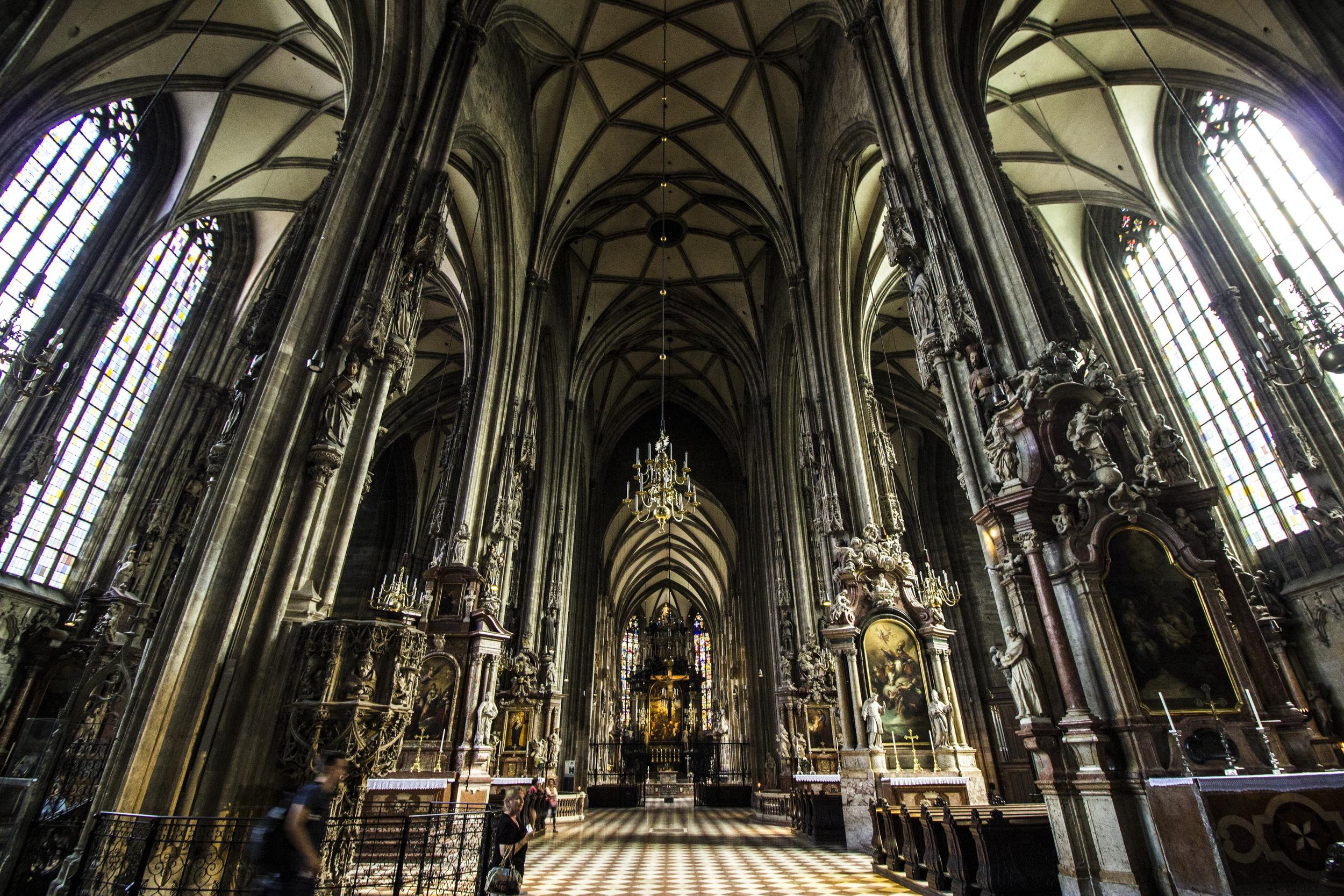 Inside Stephansdom.