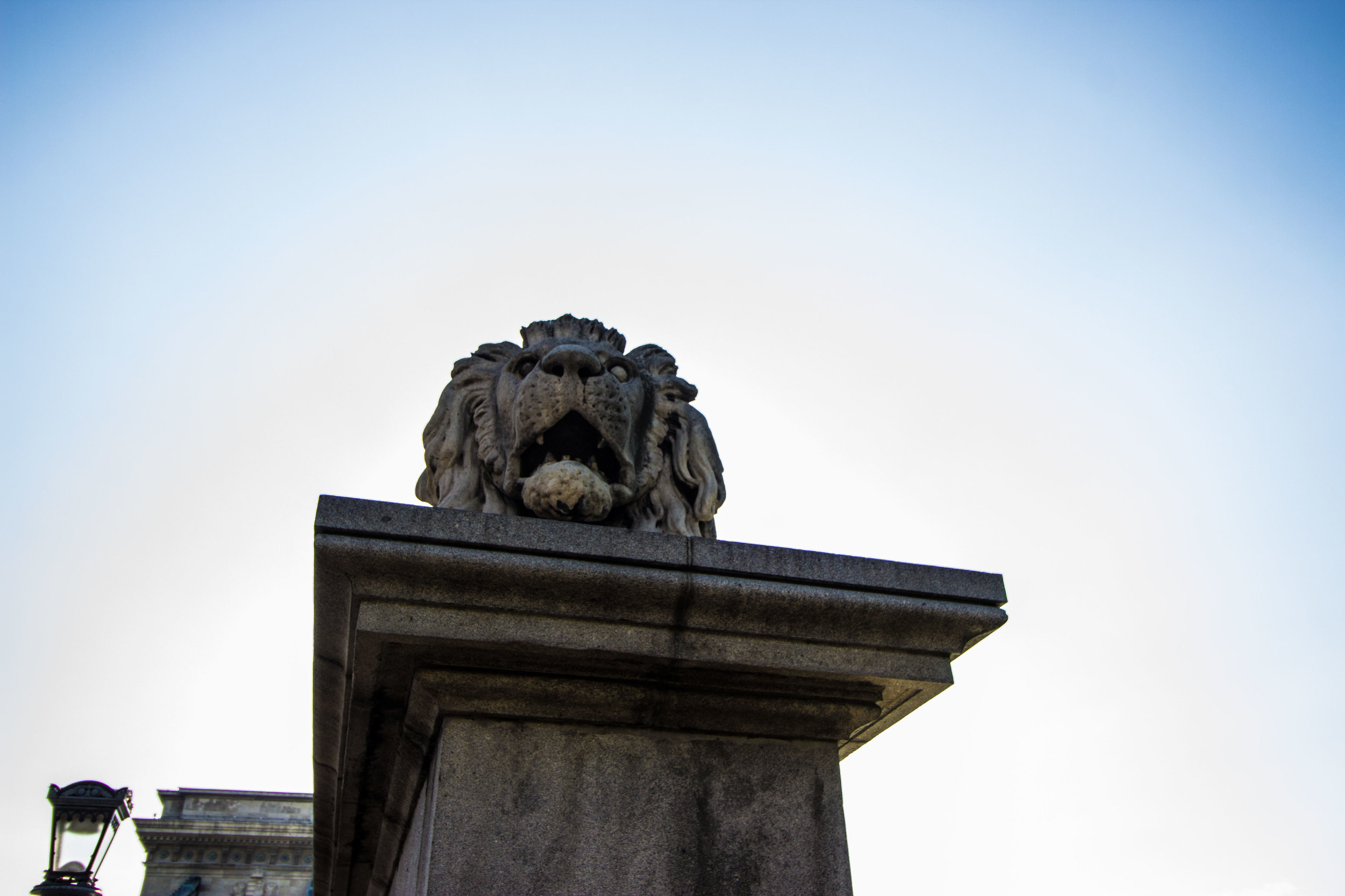 Lions guard the Chain Bridge at both sides of the river.