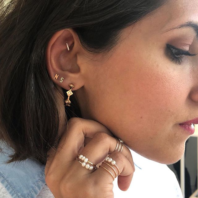 Talking about ears... | love how @noorshamma stacked our Mini Mini Letter Studs with her gorgeous hoops! Also check out our stories for a tbt ☺️