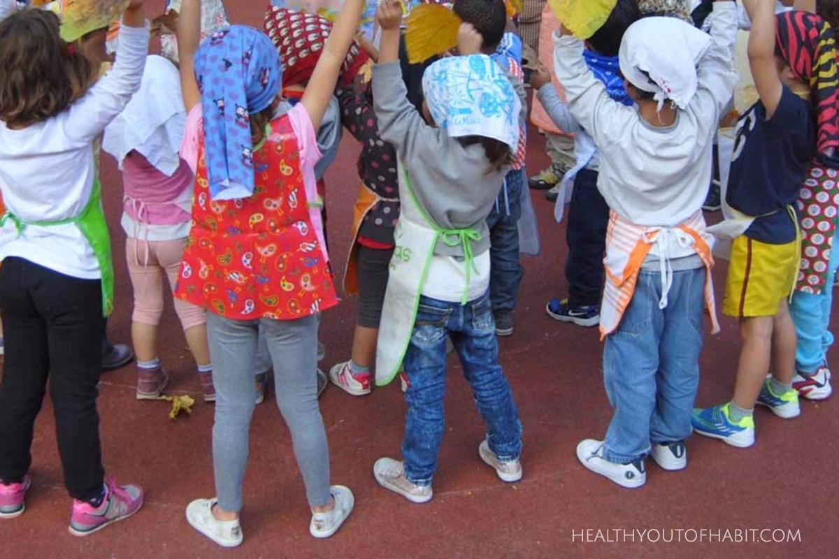 Local children performing  La Castanyera  dance at school