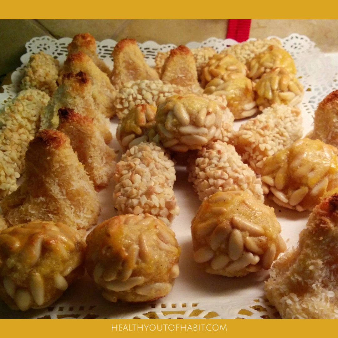 Homemade panelletts made with almond paste, potato, nuts, coconut and sugar