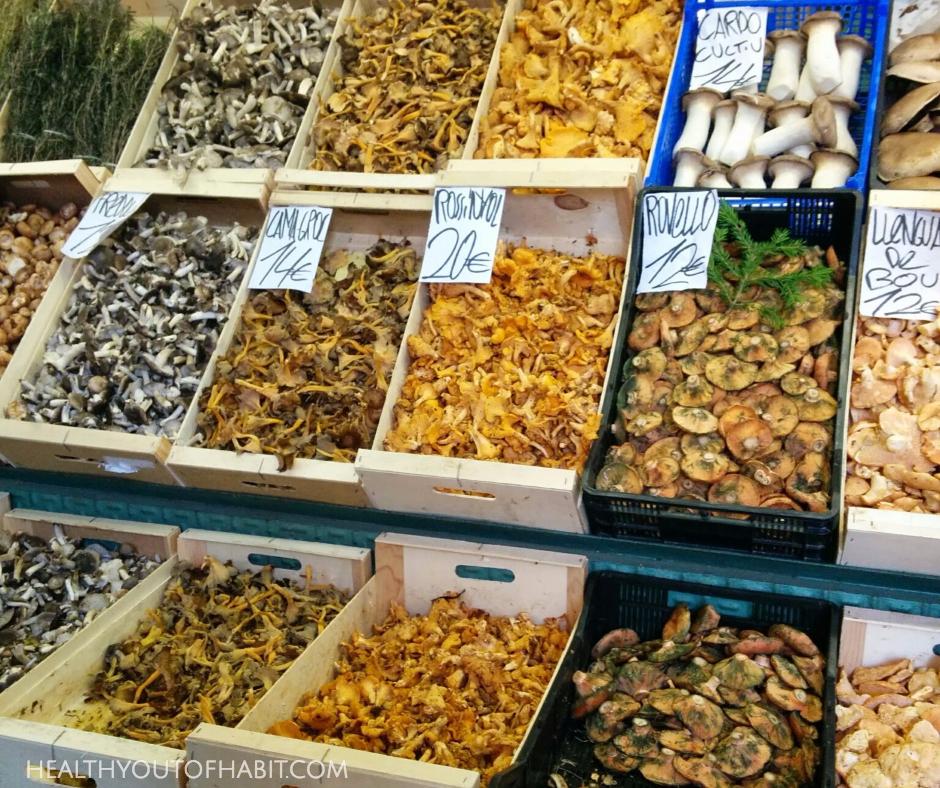 Wild mushrooms on display at La Boqueria Market, Barcelona