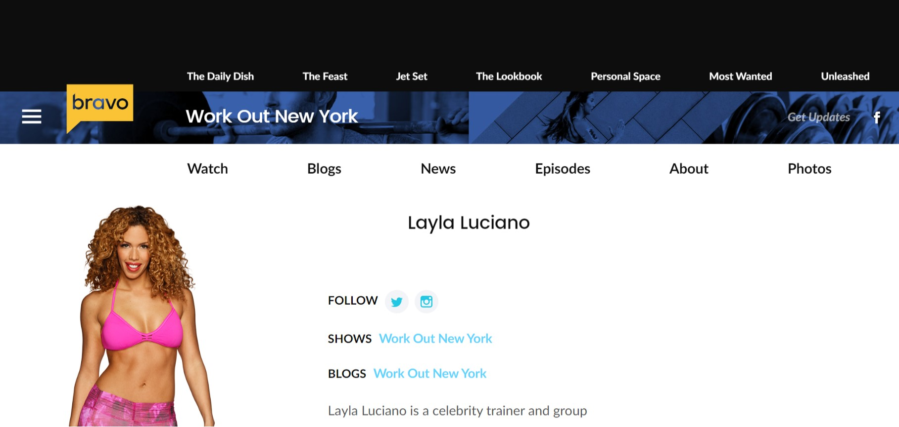 BravoTV Workout New York - Layla Luciano Star of Bravo TV's Workout New York