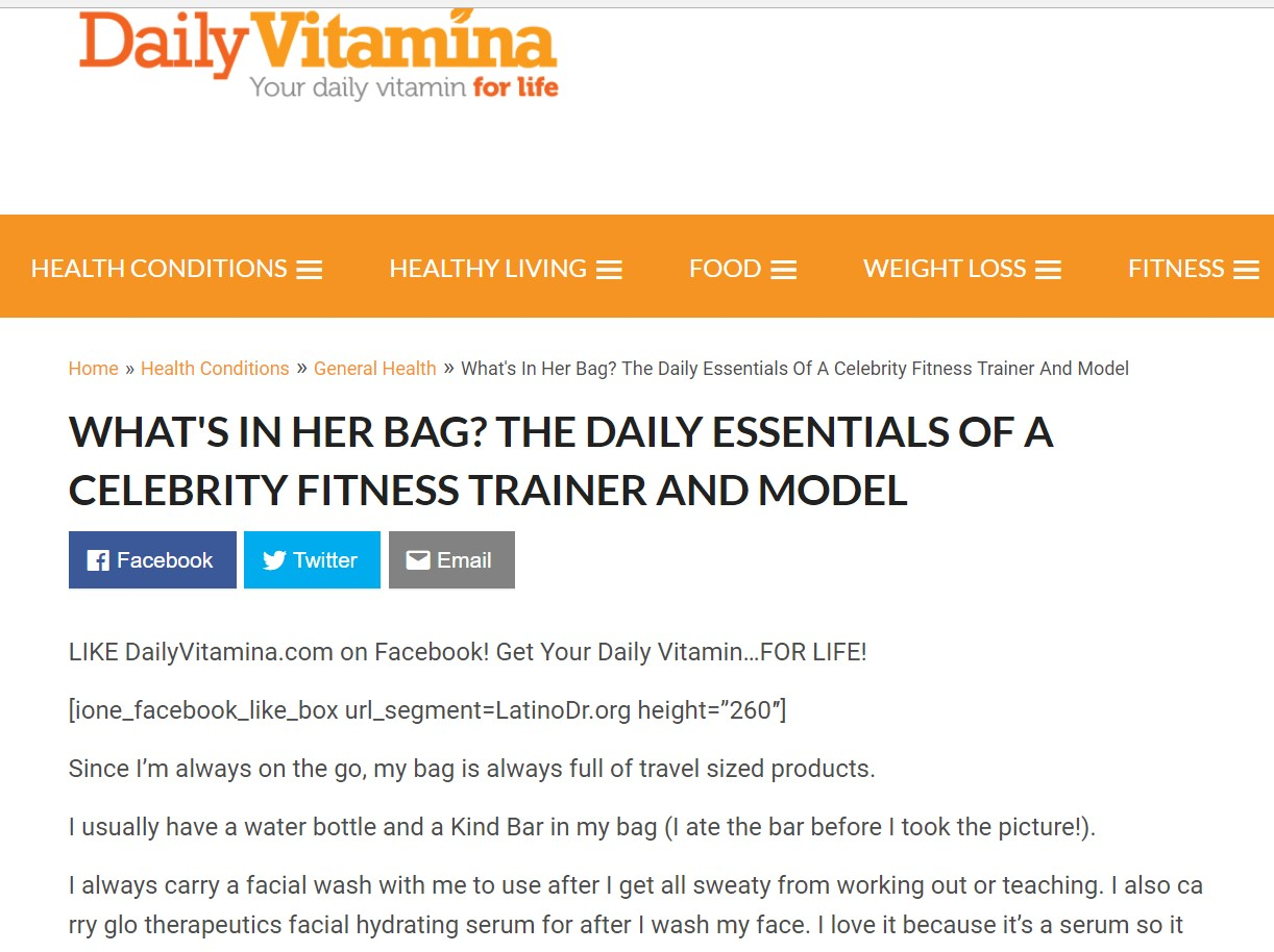 Daily Vitamina - What's in her bag? Daily Essentials of A Celebrity Fitness Trainer/Model