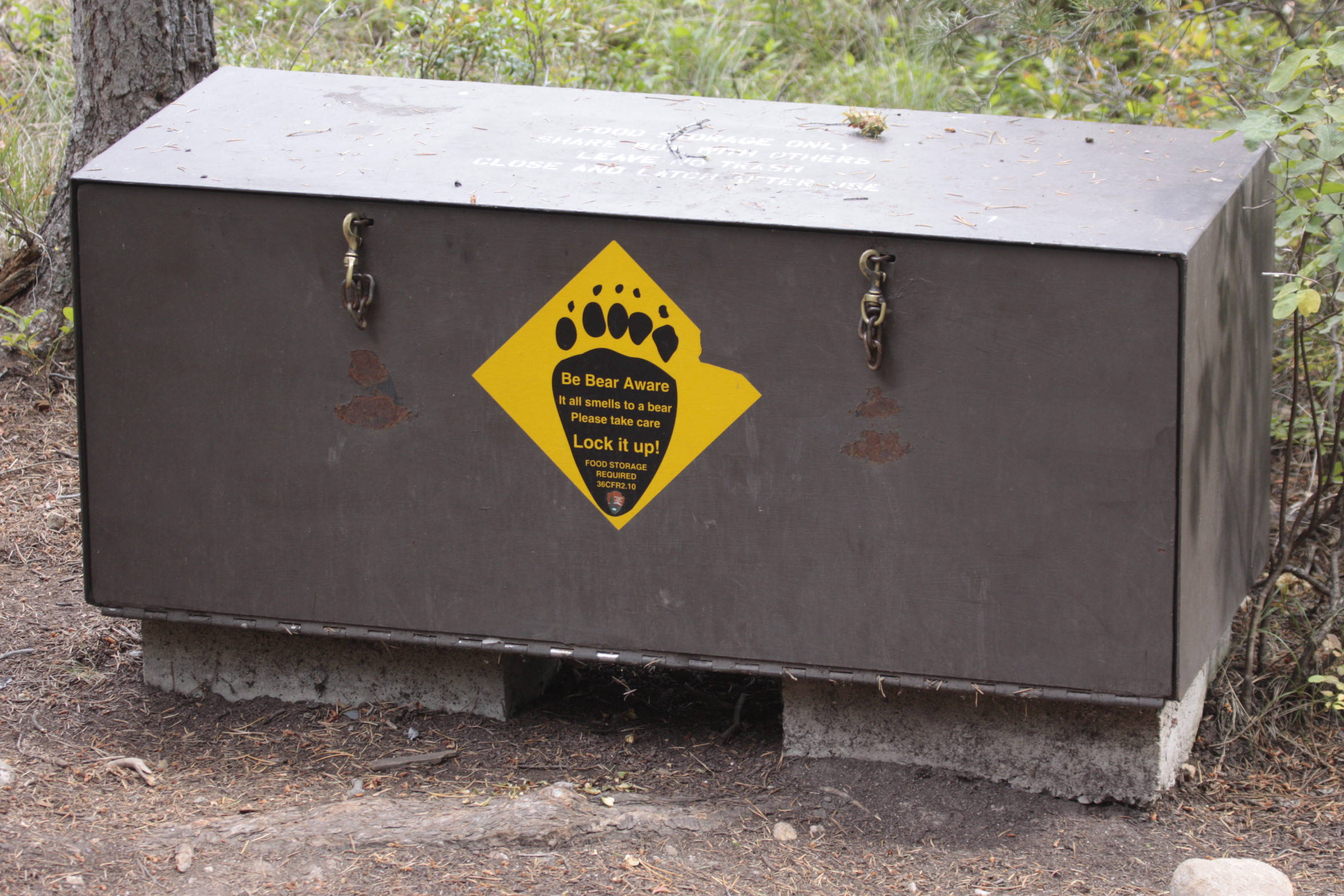 Bear proof garbage container.