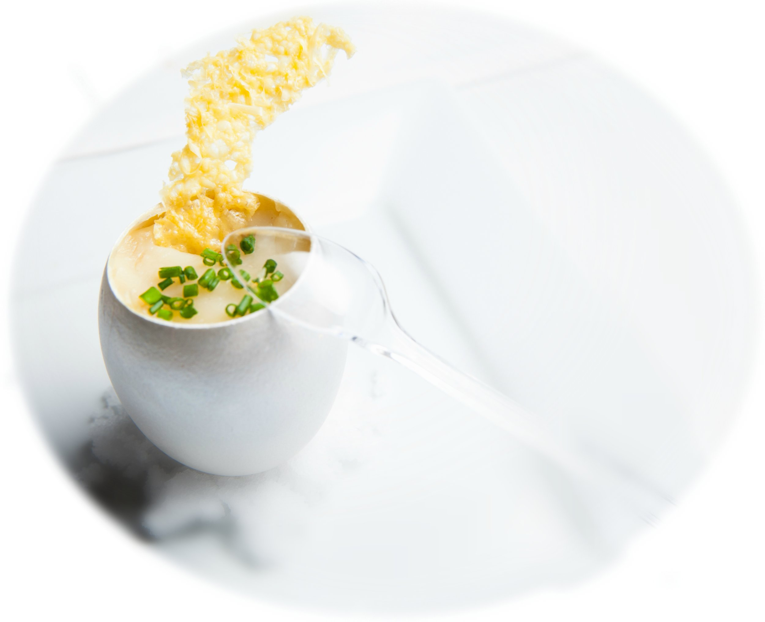 Parsnip and Celery Soup with Parmesan Crisp