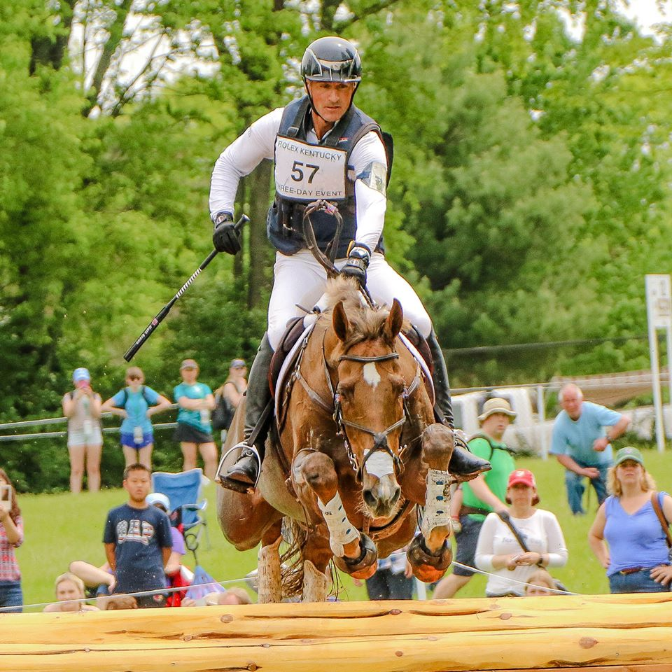 Matt Brown and Super Socks (aka Flaxen) flying on course on their way to the fastest time of the day and an overall 6th place finish at the 2017 Rolex Kentucky. Photo Cindy Lawler.