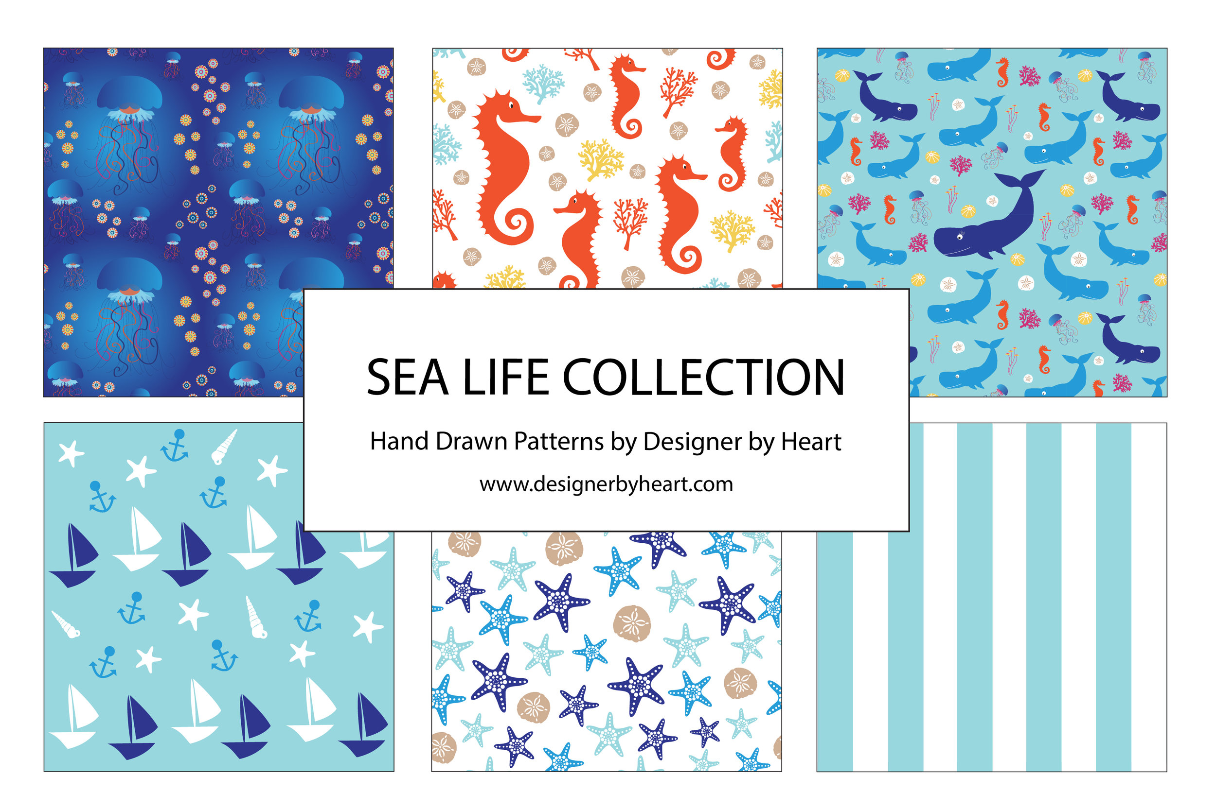 Boy Sea Life Collection with jellyfish, seahorses, whales, boats, starfish, and stripes