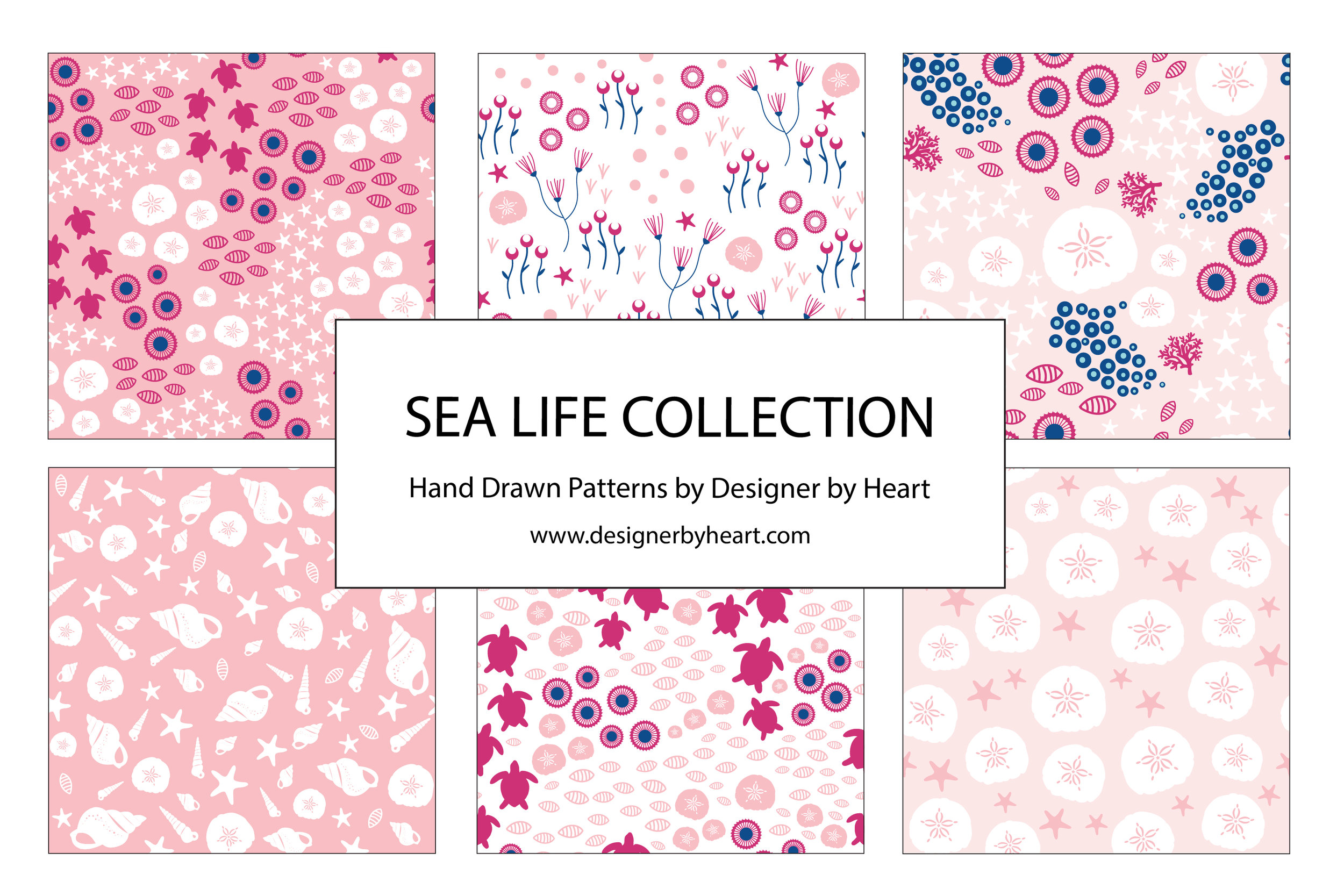 Girl Sea Life Collection with turtles, corals, sand dollars, shells, and starfish