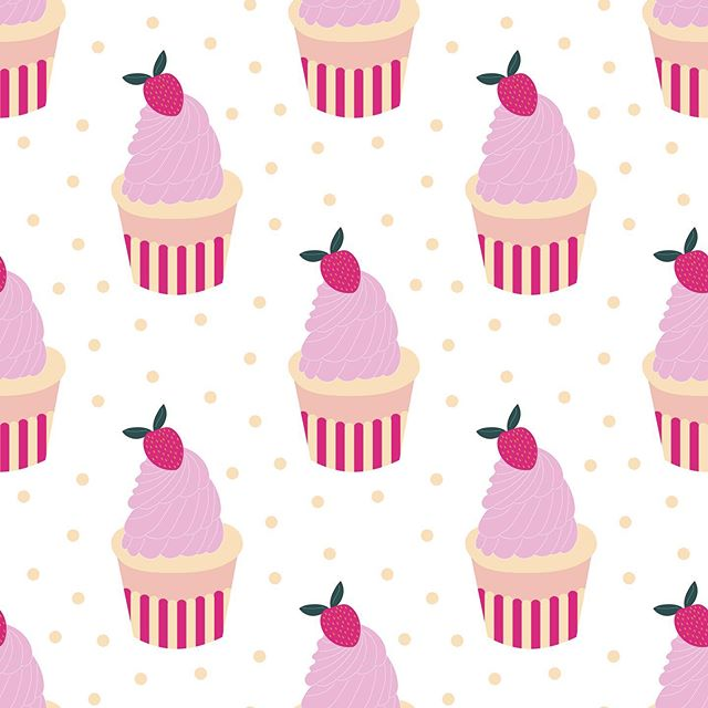 Do you also love pretty cupcakes? Here is my newest collection.  #cupcakes #cake #dessert #afternoontea #teaparty #gardenparty #hightea #poshtea #pink #teatime #treat #yummy #Teaparty #afternoonteatime #englishtea #strawberries #pattern #illustration #designerbyheart