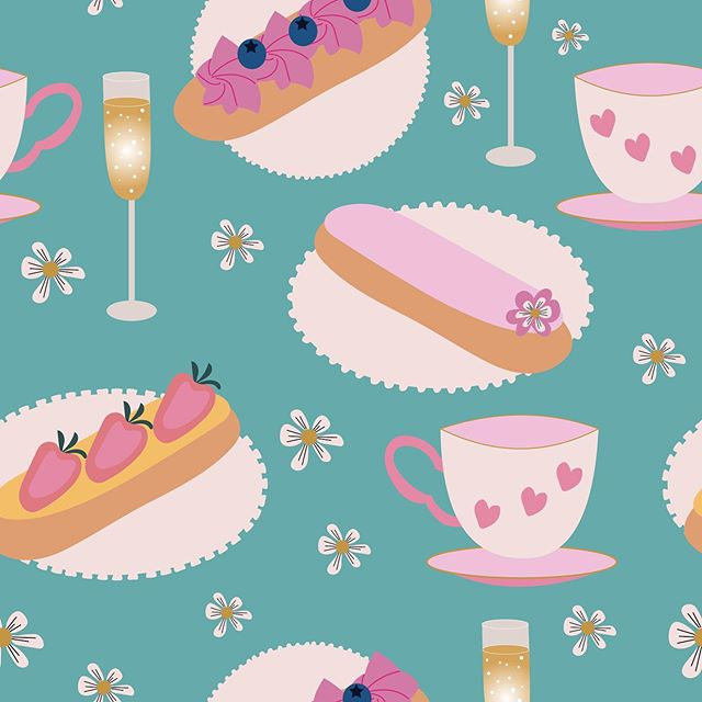 I love sweets, so creating a pattern full of delicious Belgium éclairs, champagne, and tea cups was really fun. #éclair #éclairs #eclairs #pastry #cake #dessert #gardenparty #pink #treat #yummy #strawberries #teaparty #champagne #tea #teacup #blueberries #illustration #designerbyheart