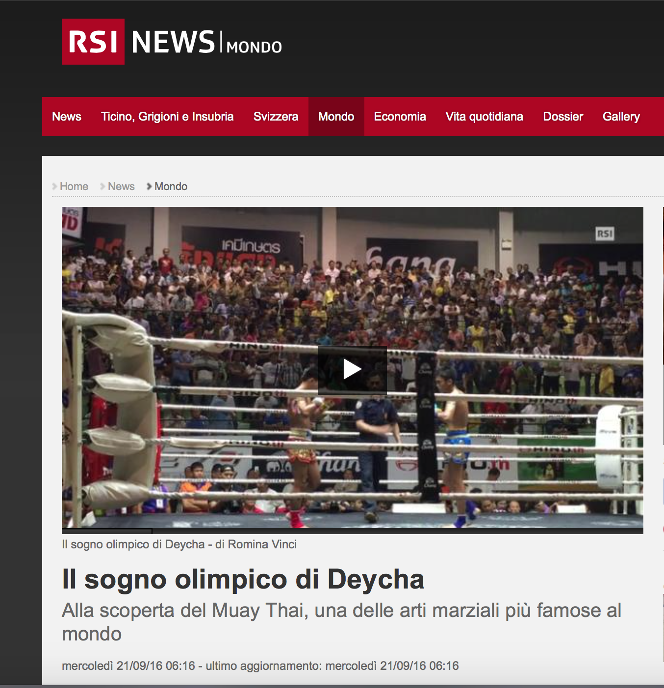 RSI - Radio Televisione Svizzera - September 2016