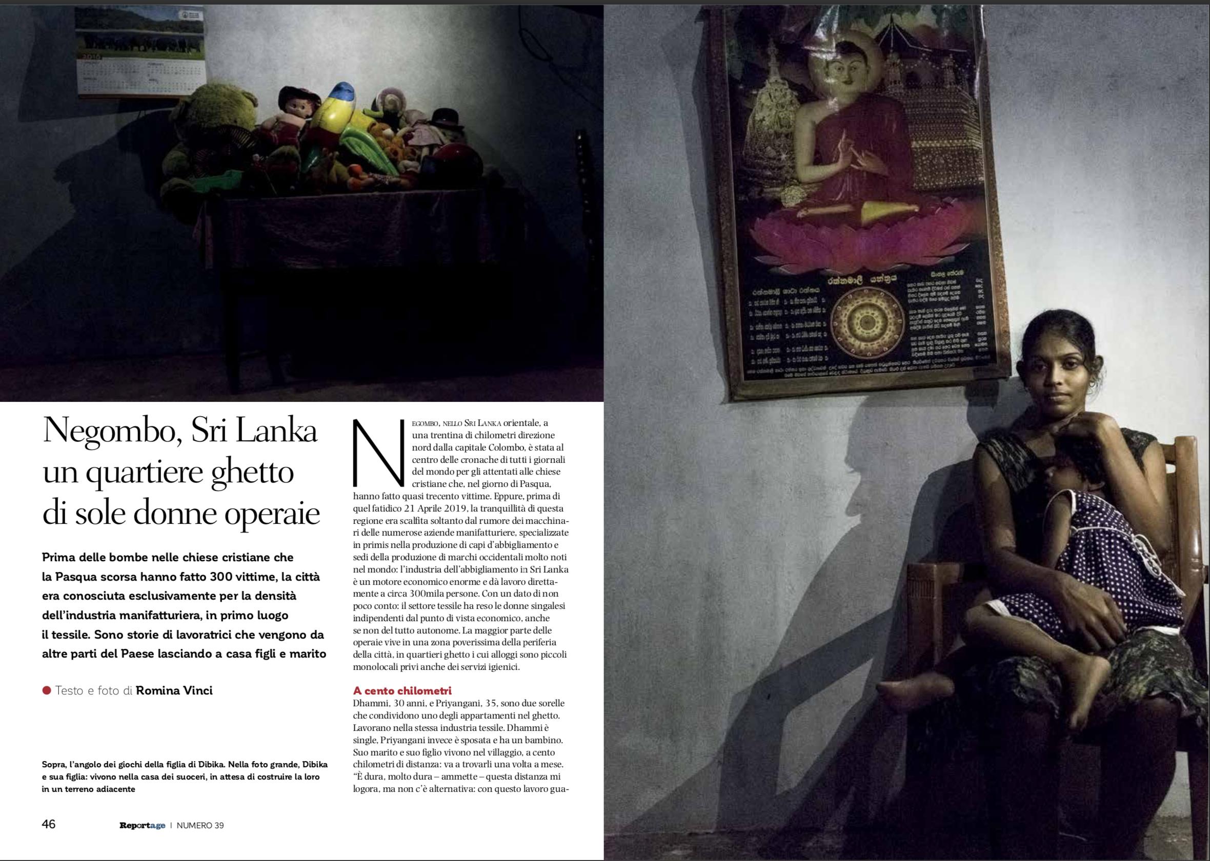 Un estratto del reportage di Romina Vinci da Negombo (Sri Lanka) sulla difficile condizione di vita delle operaie impiegate nell'industria tessile.