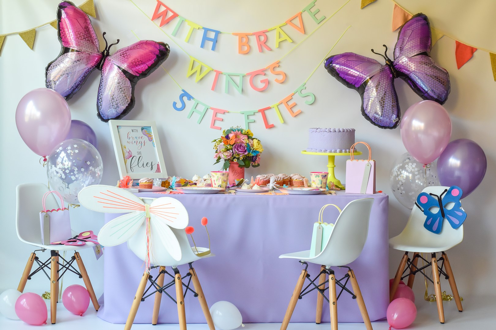 The fully-styled  butterfly party package  and birthday bundle in the shop!