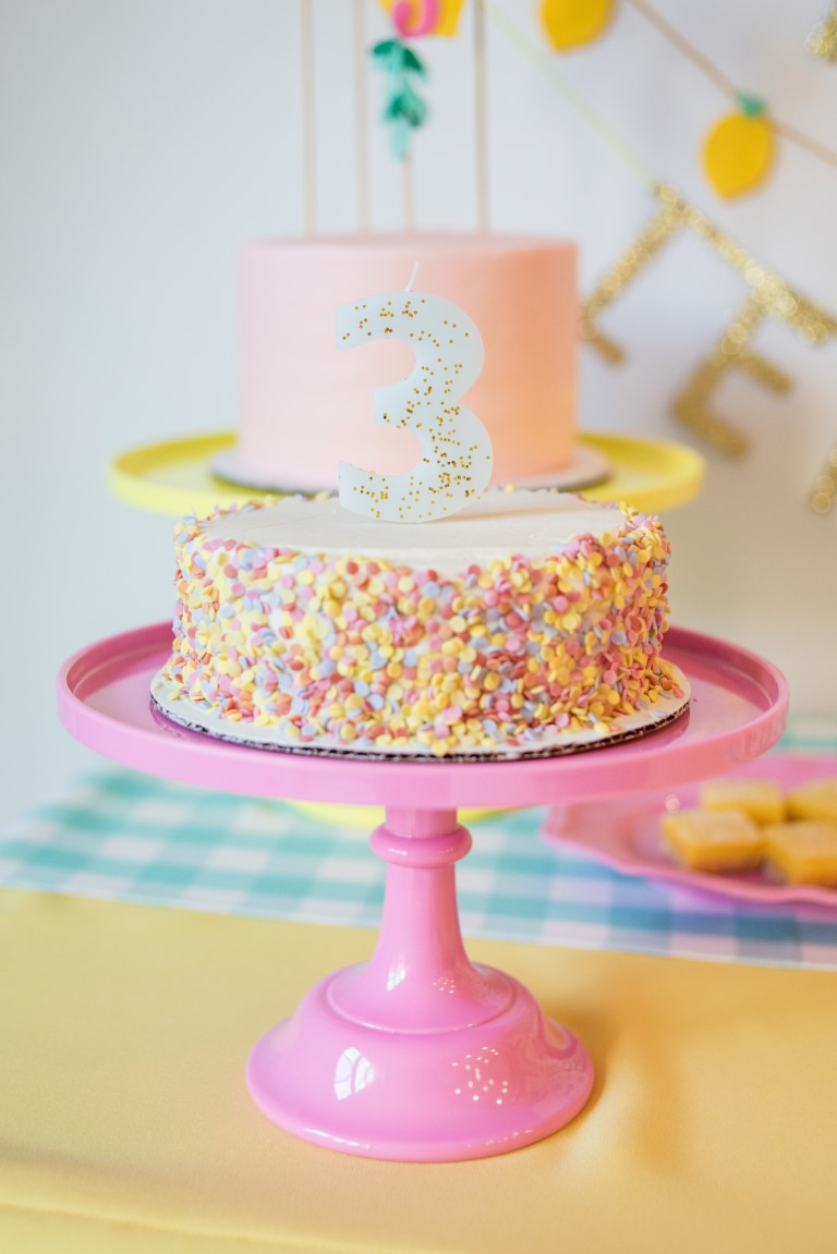 Number Birthday Candle and Confetti Cake