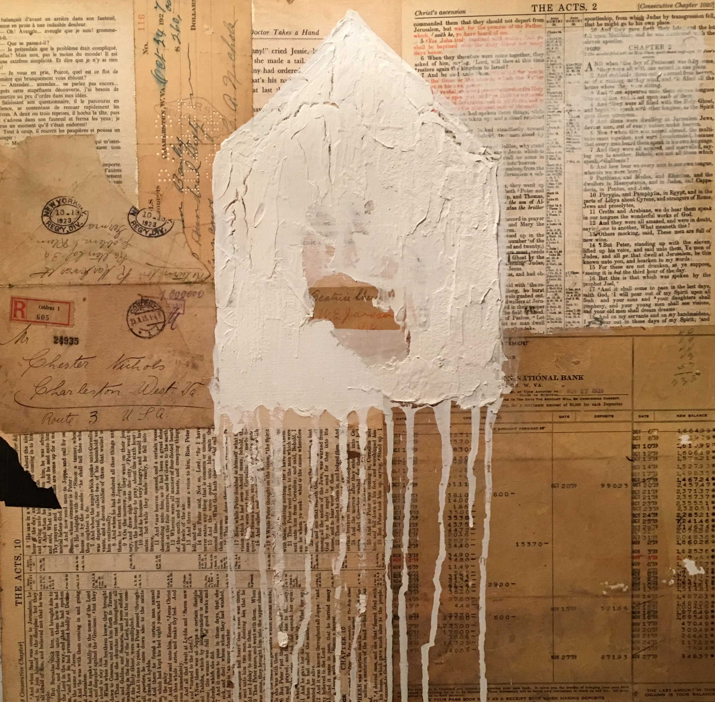 """Ghost House White"" Mixed Media 2016"