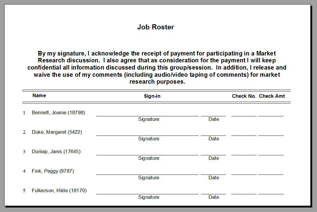 Job Roster