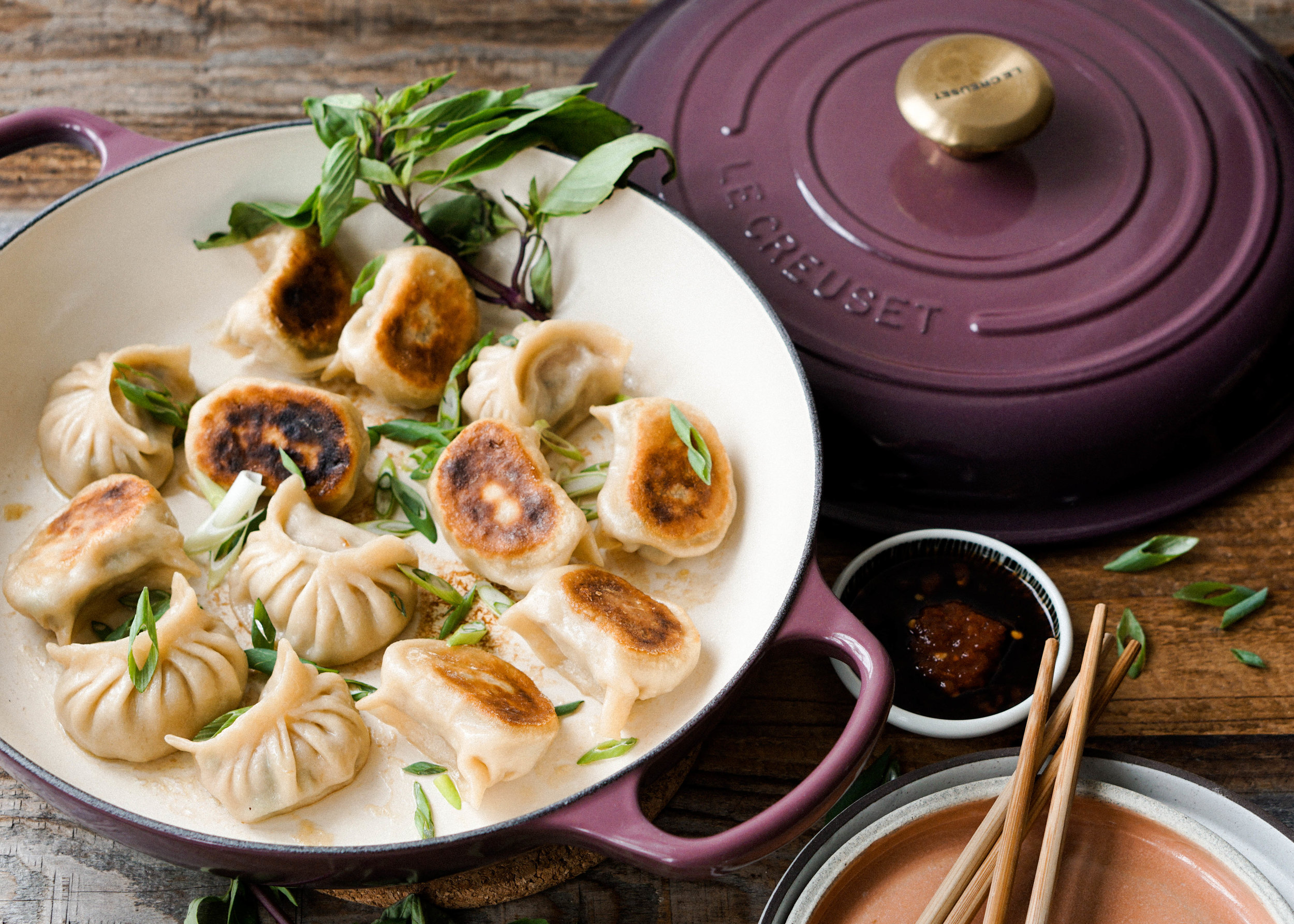 Basil Chicken Dumplings - Eat Cho Food