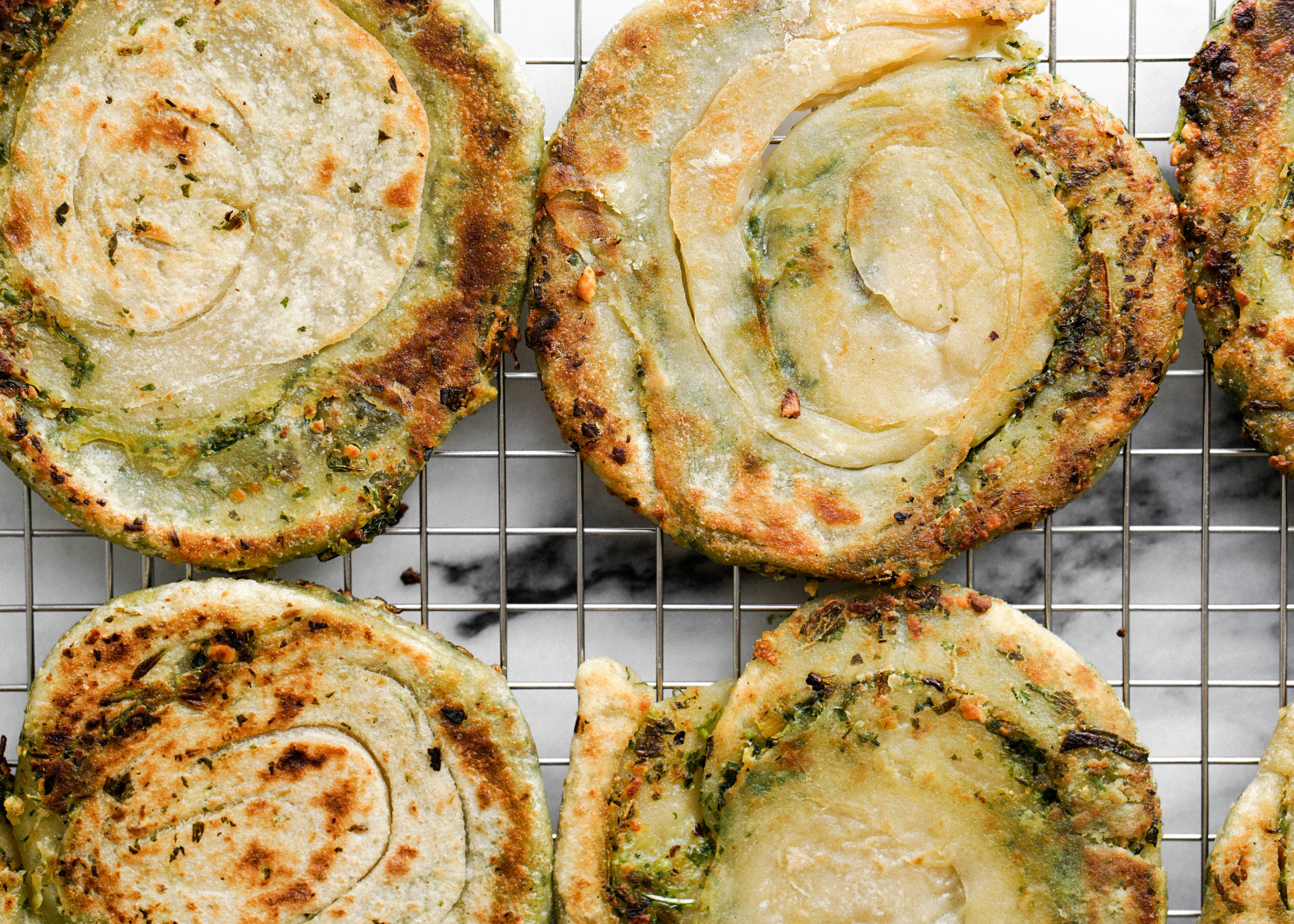 Scallion Pesto Pancakes - Eat Cho Food