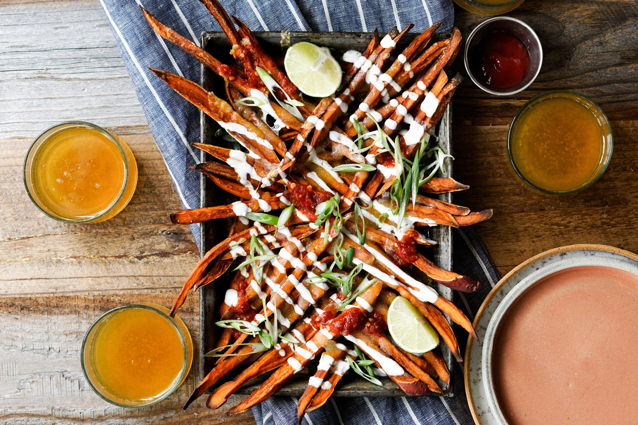 Sweet Potato Cheese Fries with Lime Yogurt Sambal and Scallaions - Eat Cho Food