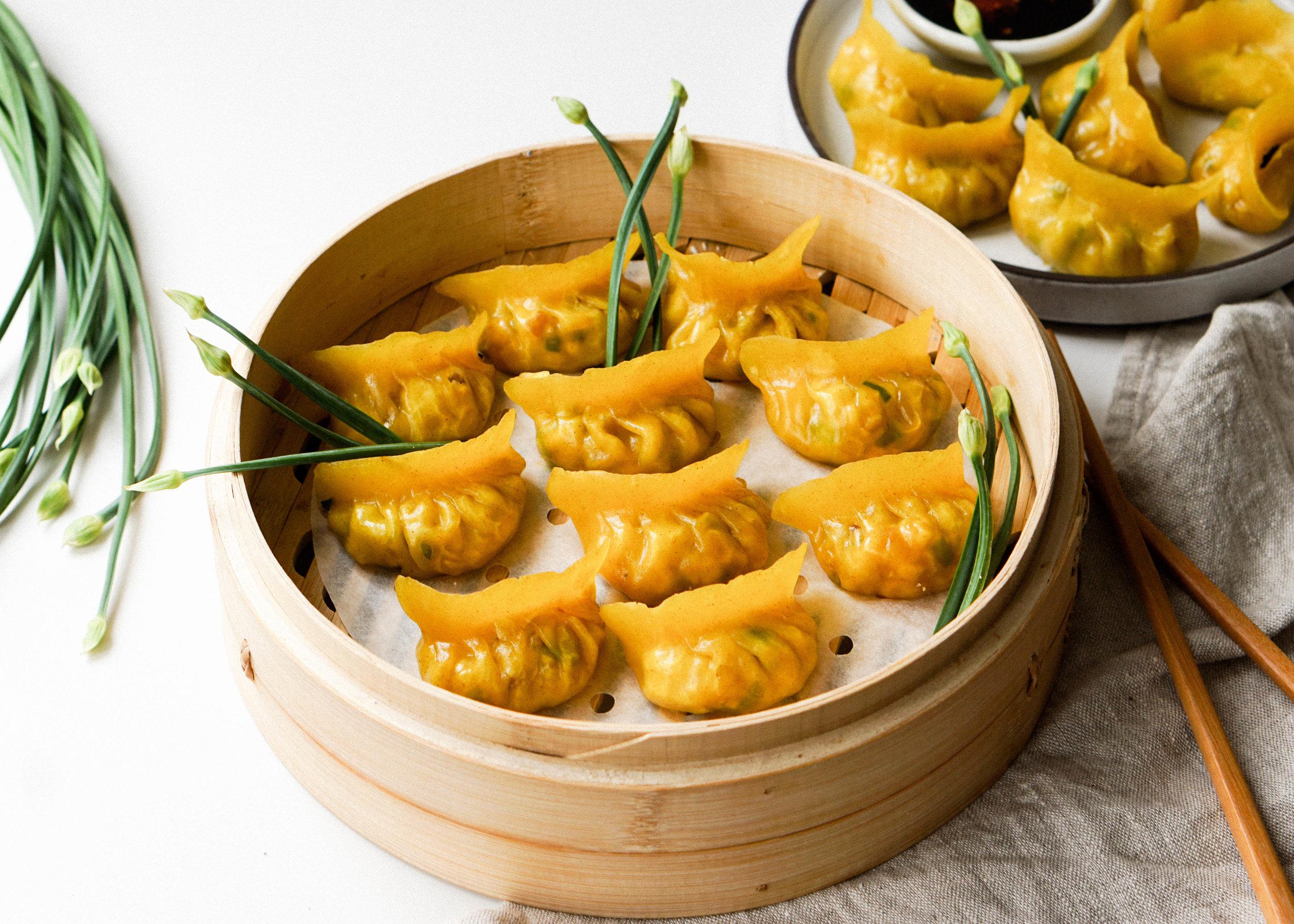 Corn Bacon Chive Crystal Dumplings - Eat Cho Food