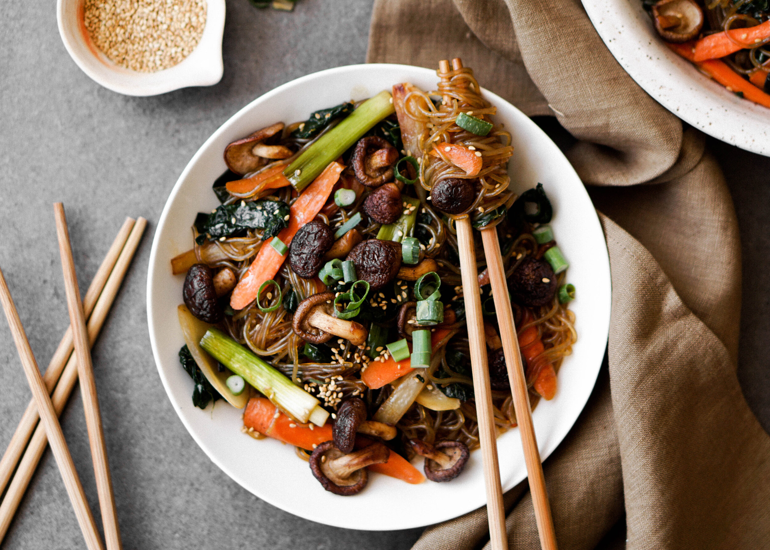 Garlicky Kale and Crispy Mushroom Japchae - Eat Cho Food
