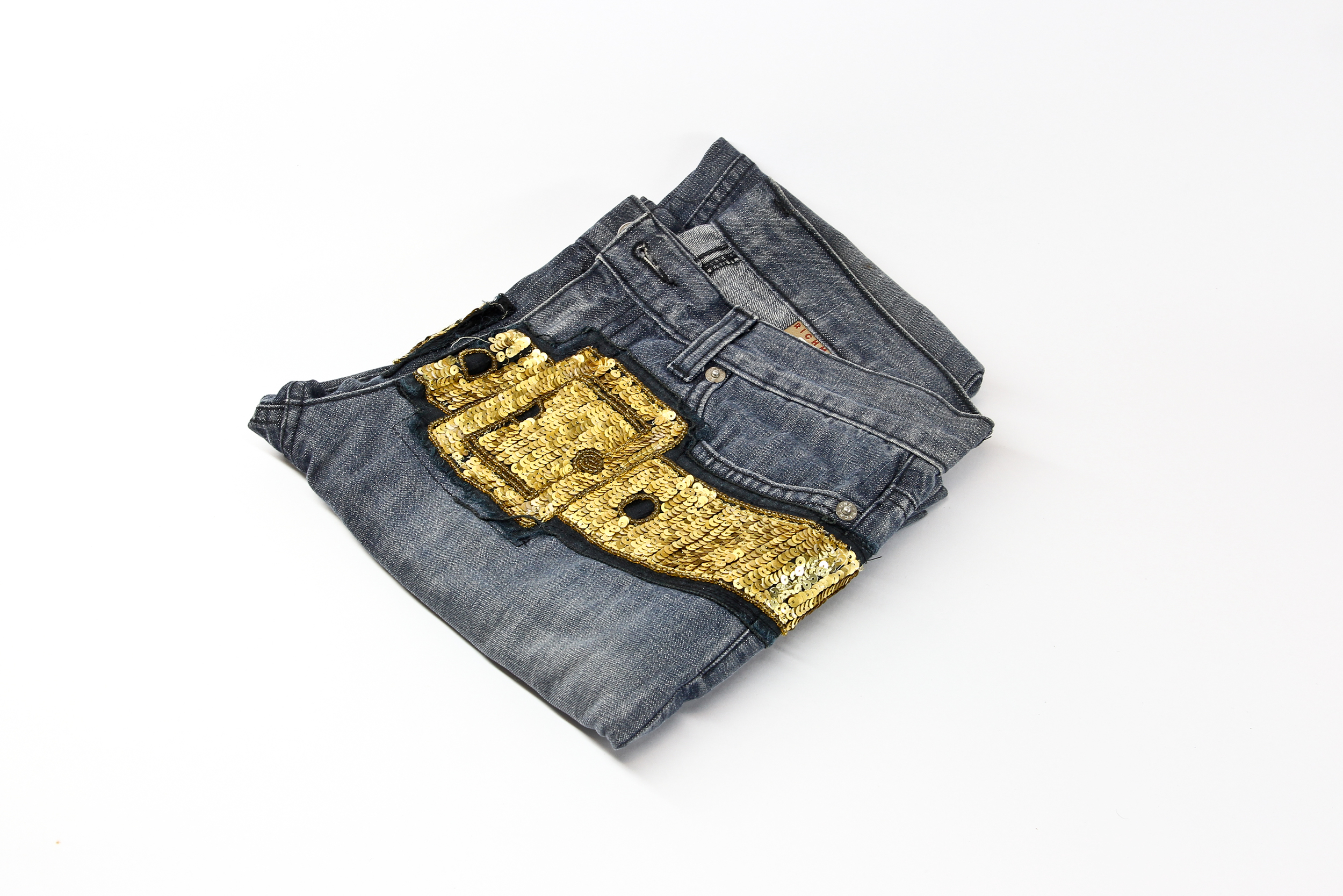 Jeans with gold sequins