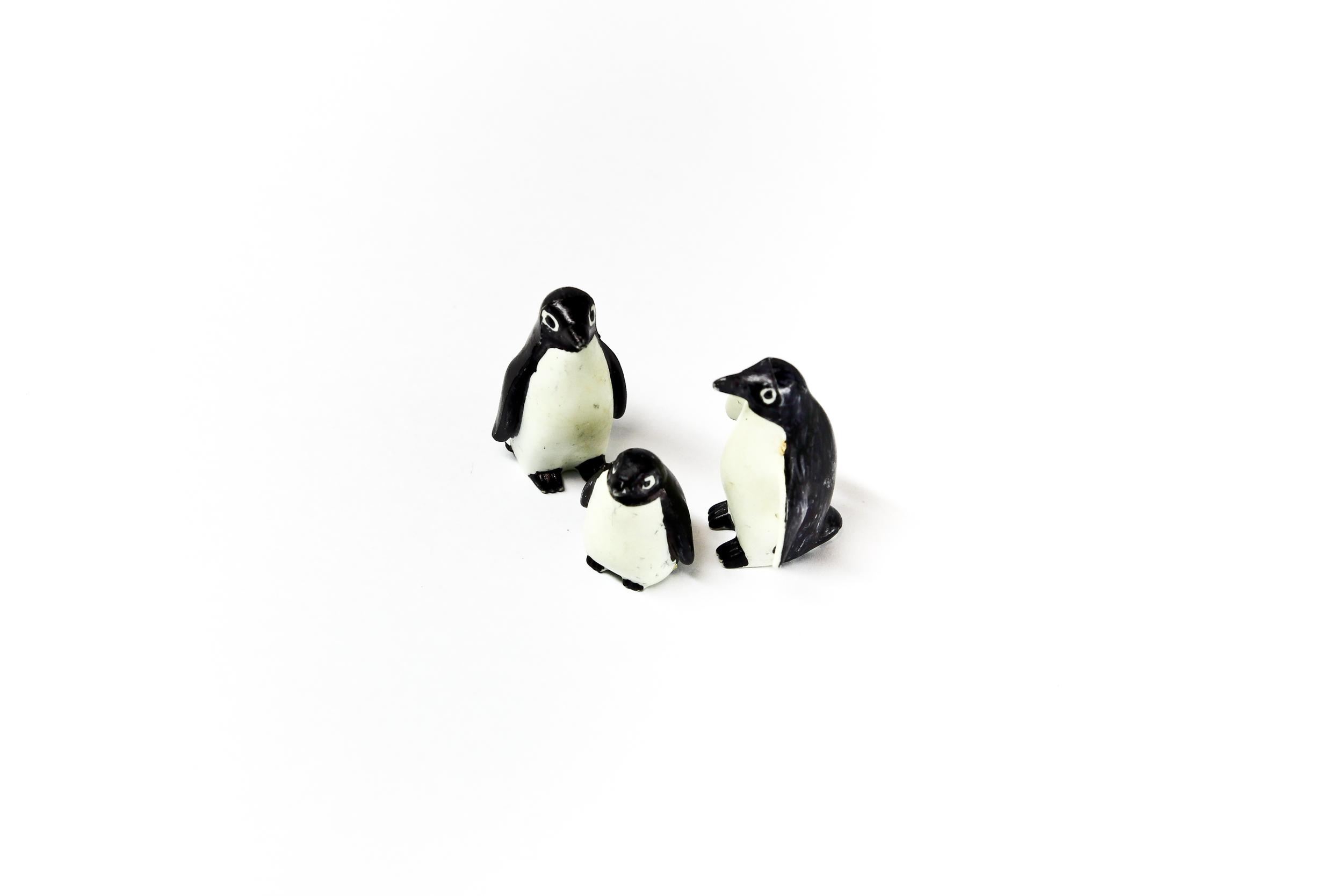 Trio of penguin figurines