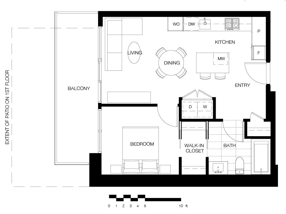 1 bed/1 bath - A8