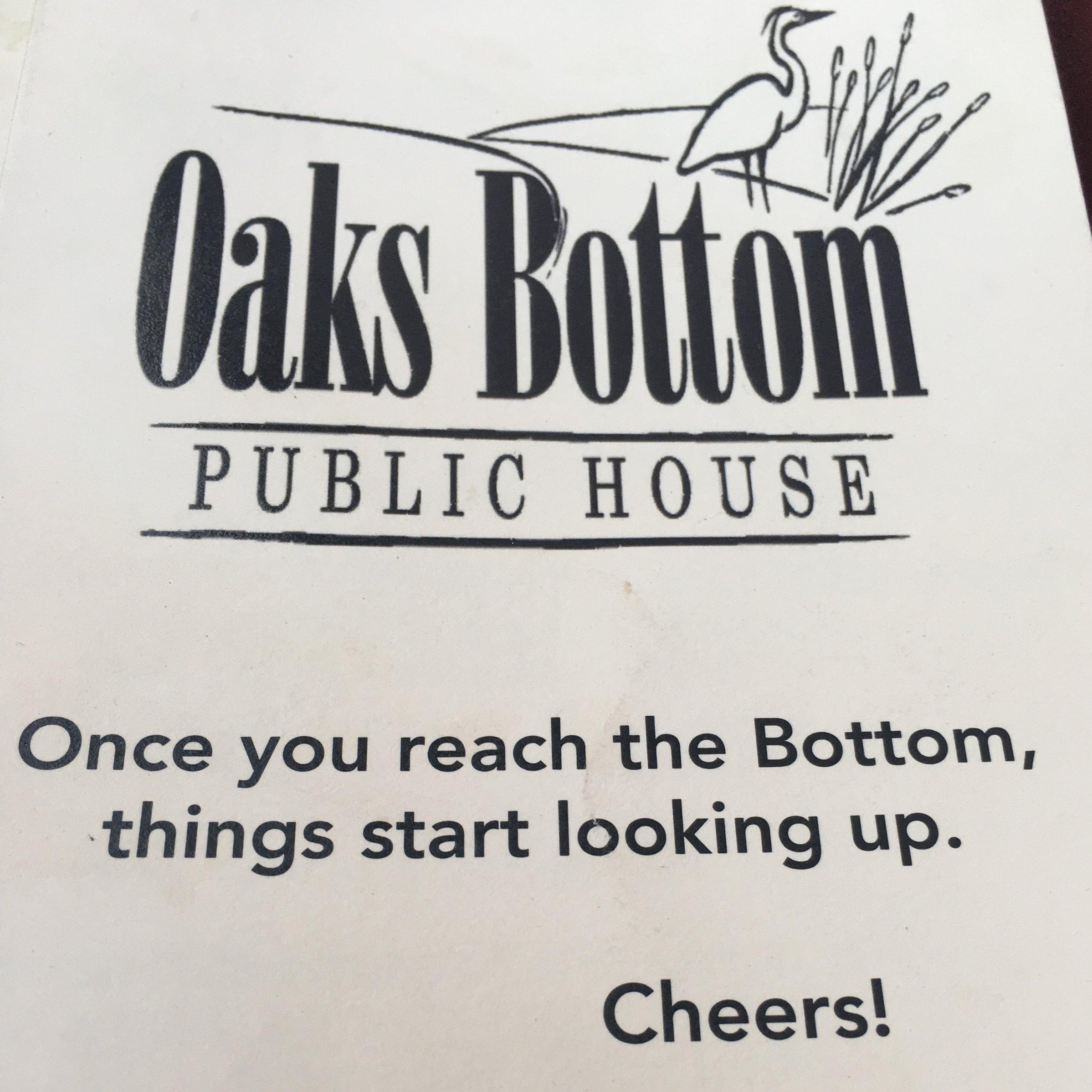 Tru dat, Oaks Bottom.