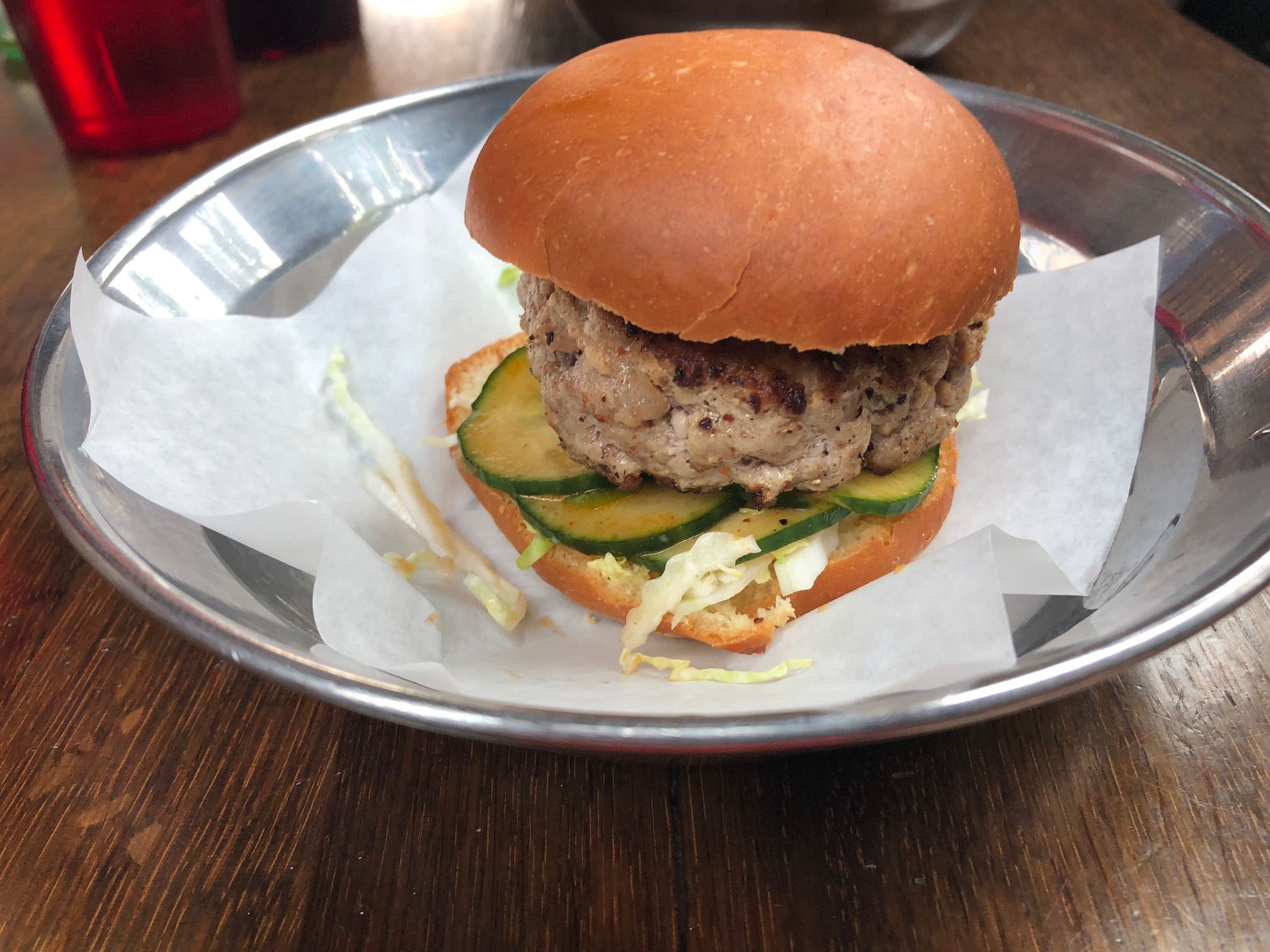 """Danwei Canting """"Spicy Tails & Trotters Pork Burger"""""""