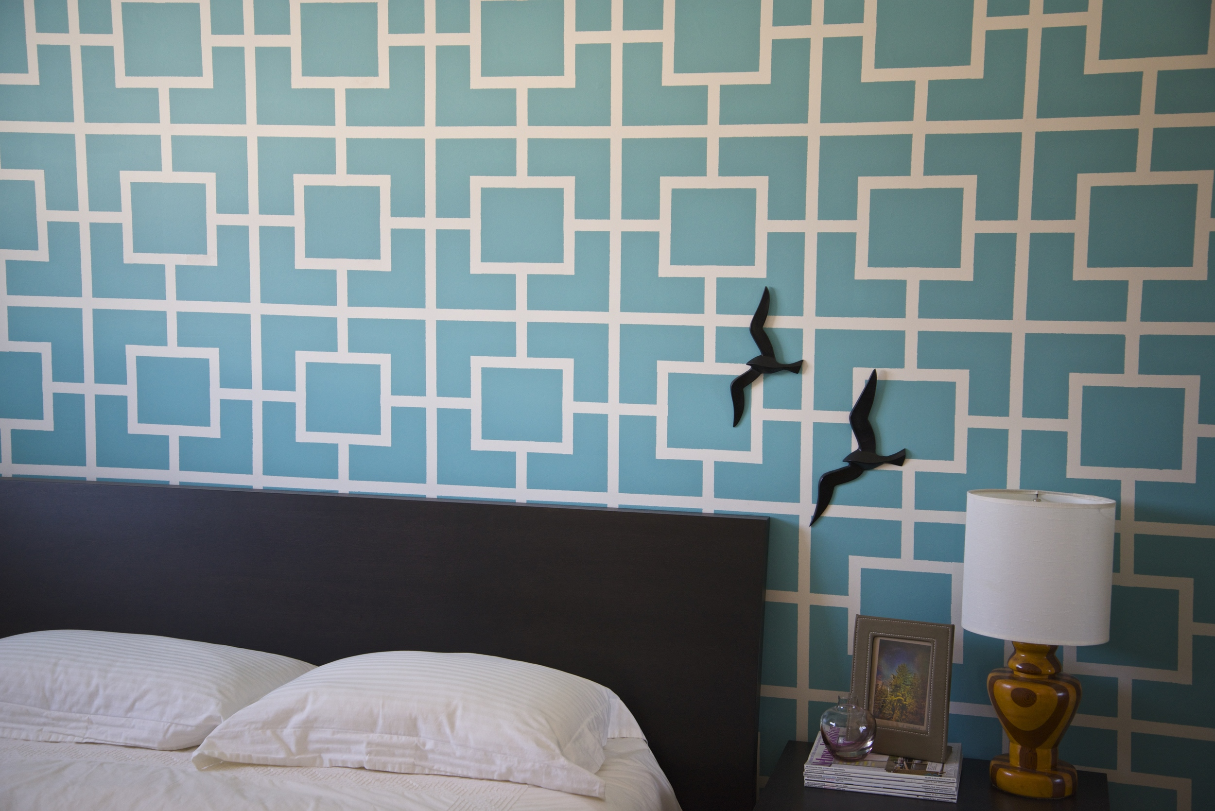 Ten years ago, this was our master bedroom (Jonathan Adler was my inspiration). This was before stencils were popular...this was all tape & laser level. I think turquoise is one of my favourite colours.