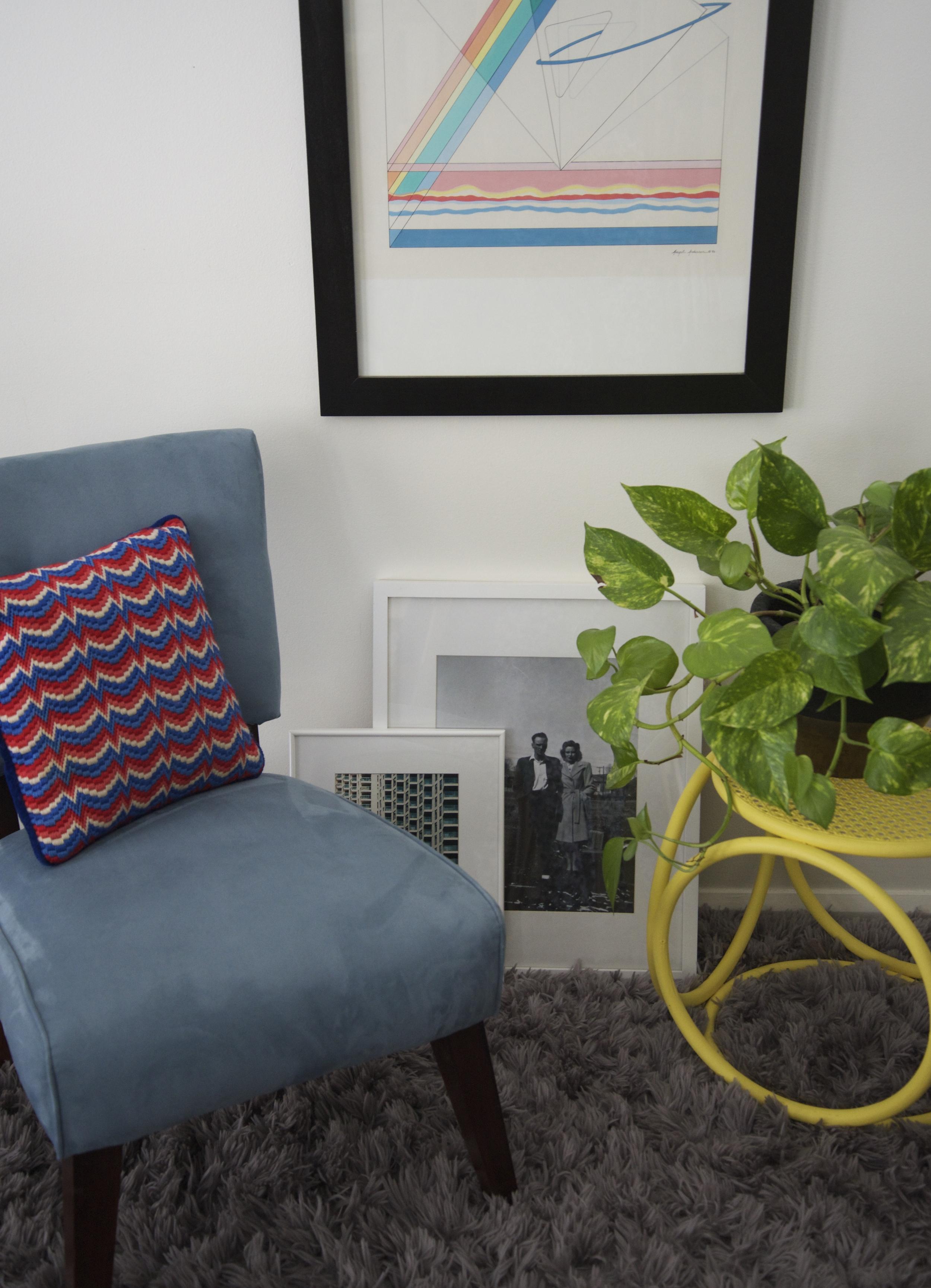 A retro slipper chair tucks nicely into any corner.