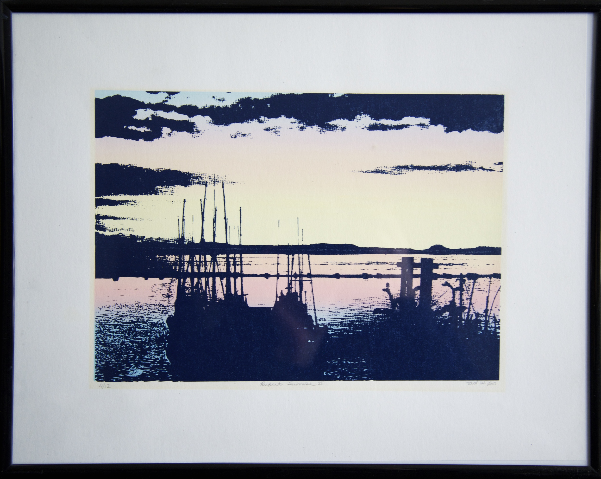 You may think this signed & numbered print was purchased at an expensive home decor store as it is on trend with colours for 2016. However it was found at a local consignment shop for under $10. I kept it in the original black frame as it was in great condition.