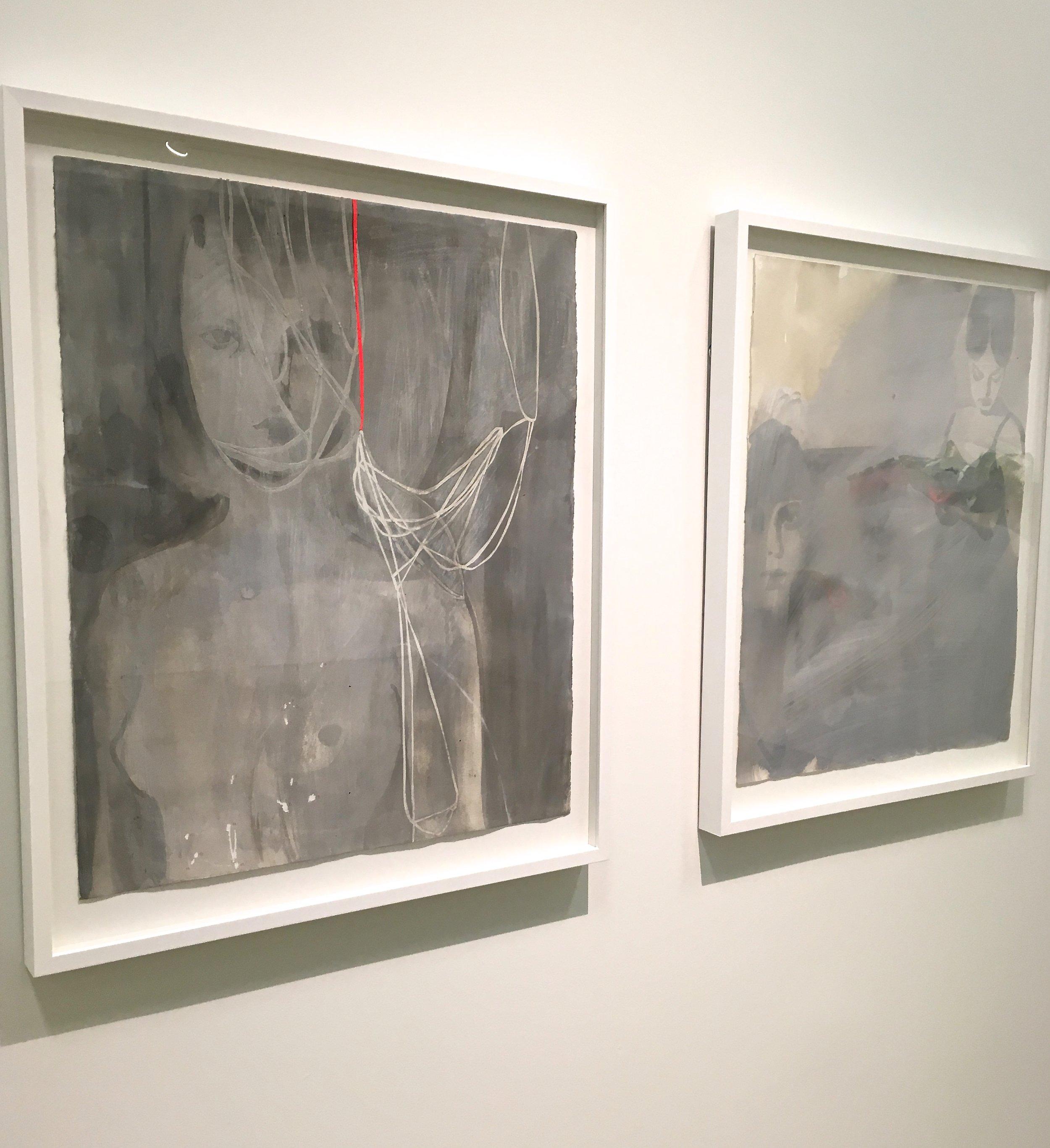 A pair of Tina Berning's Acrylic on Paper pieces.