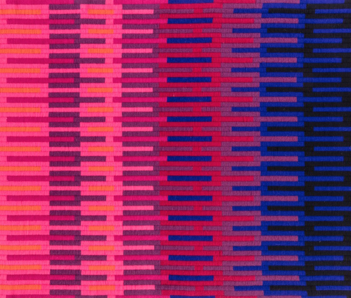 Wool wall hanging by Velta Vilsons (1965-1970). I could use this as inspiration for one of my paintings for sure. The striking pattern and bold pops of colour are stunning!