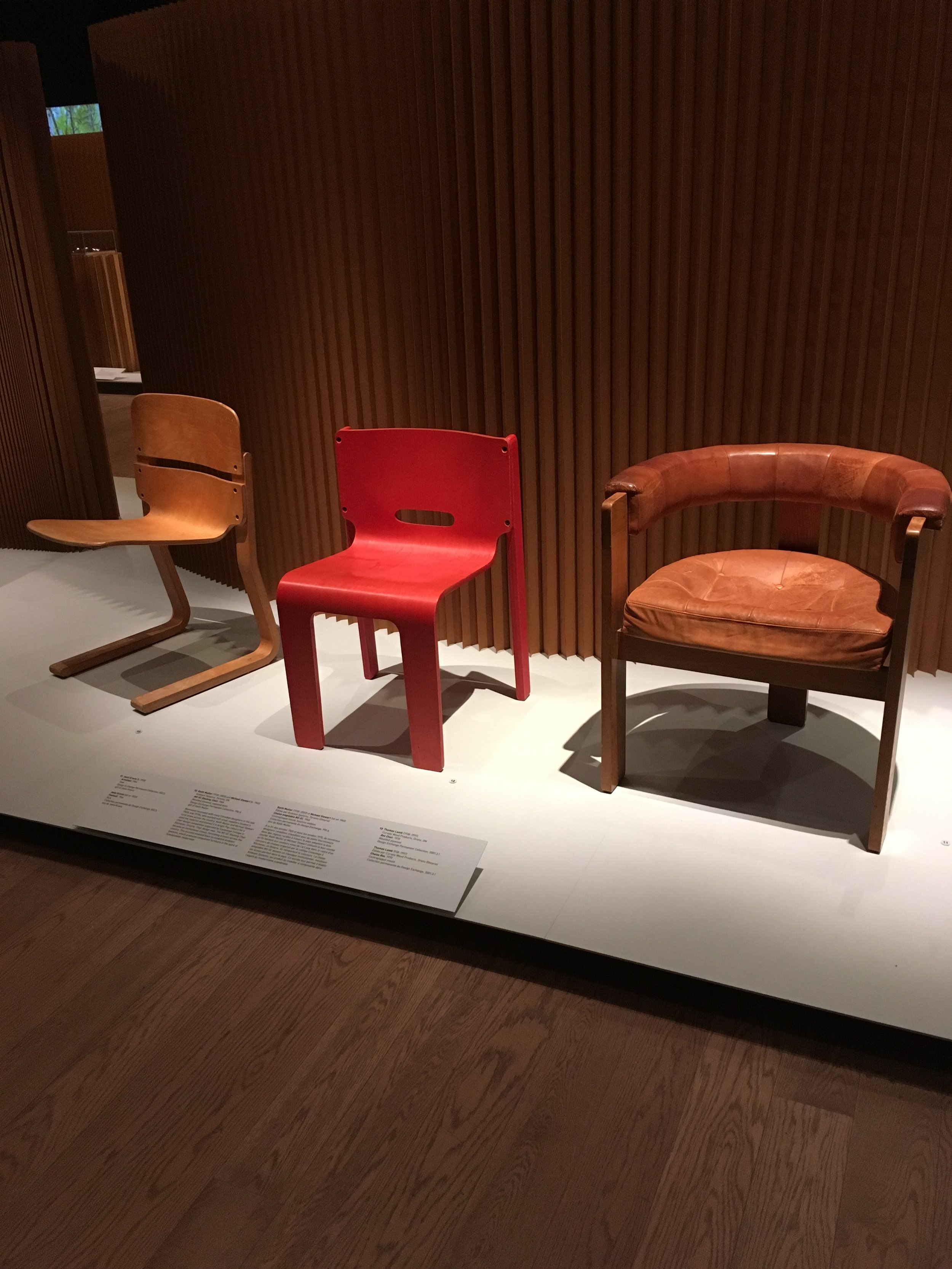 I'm not a fan of red, but I would allow this chair into my home. The one on the right with the tufted seat is my favourite though.