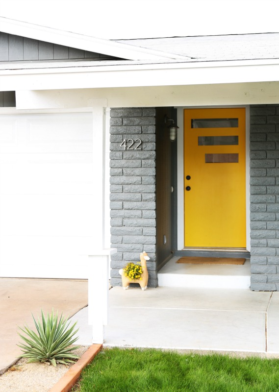 Kate searched for a mid century style door with no luck. Her husband bought a solid door & created this master piece! The pop of yellow paint screams summer to me, I'm very jealous as it is winter here.