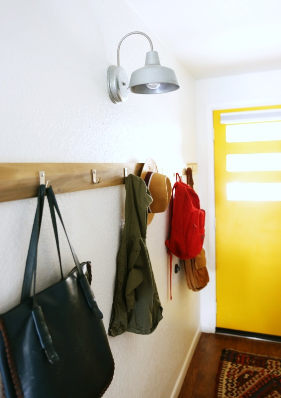 The addition of wall hooks are very practical & stylish in the entryway.