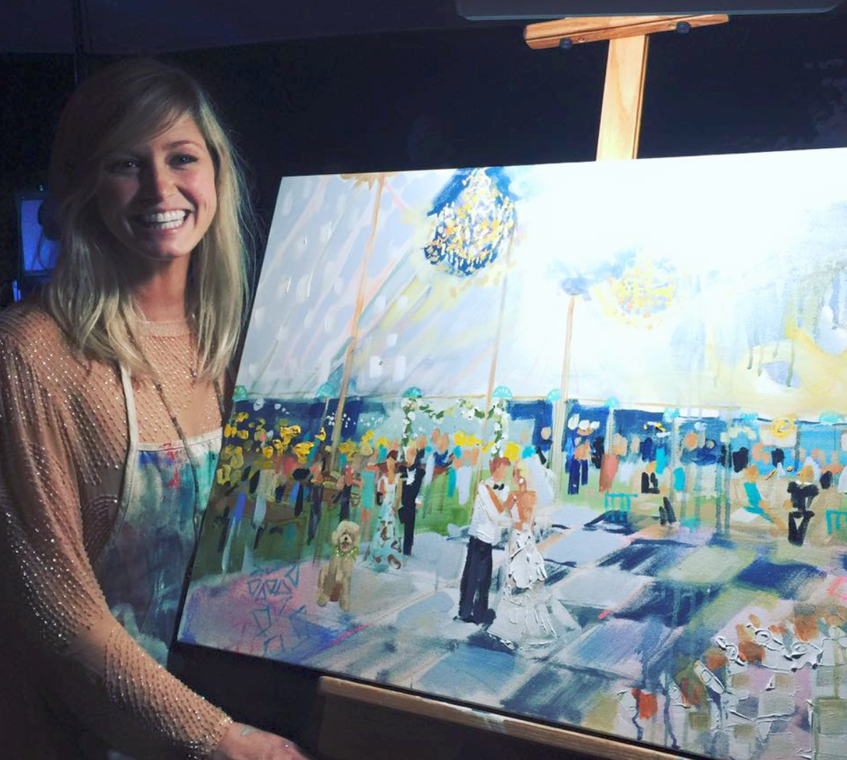 Here Elaine is doing a live event painting at a wedding. What a fabulous idea.