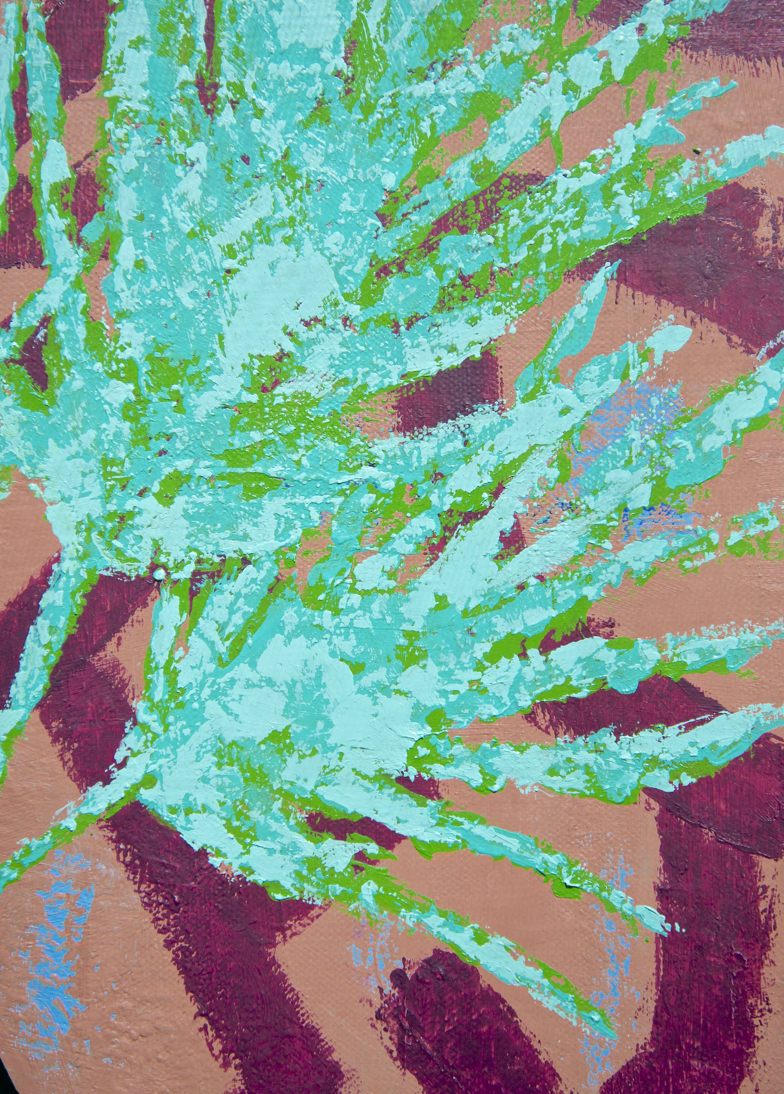This is my most textural Plant Study piece so far. I love the bits of mauve peeking through the coral background.