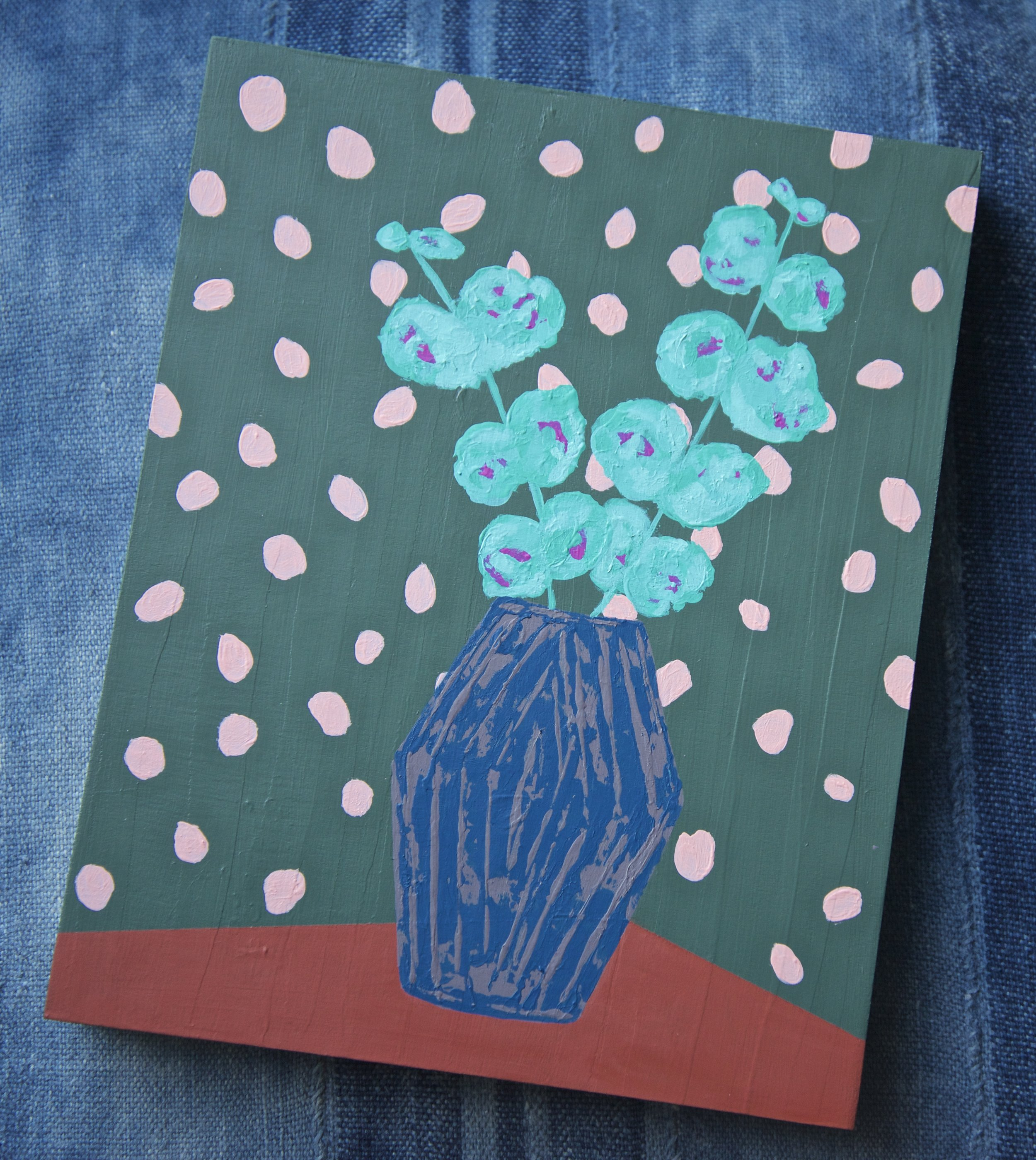 Eucalyptus in vase, with wallpaper inspiration from the  JuJu papers .